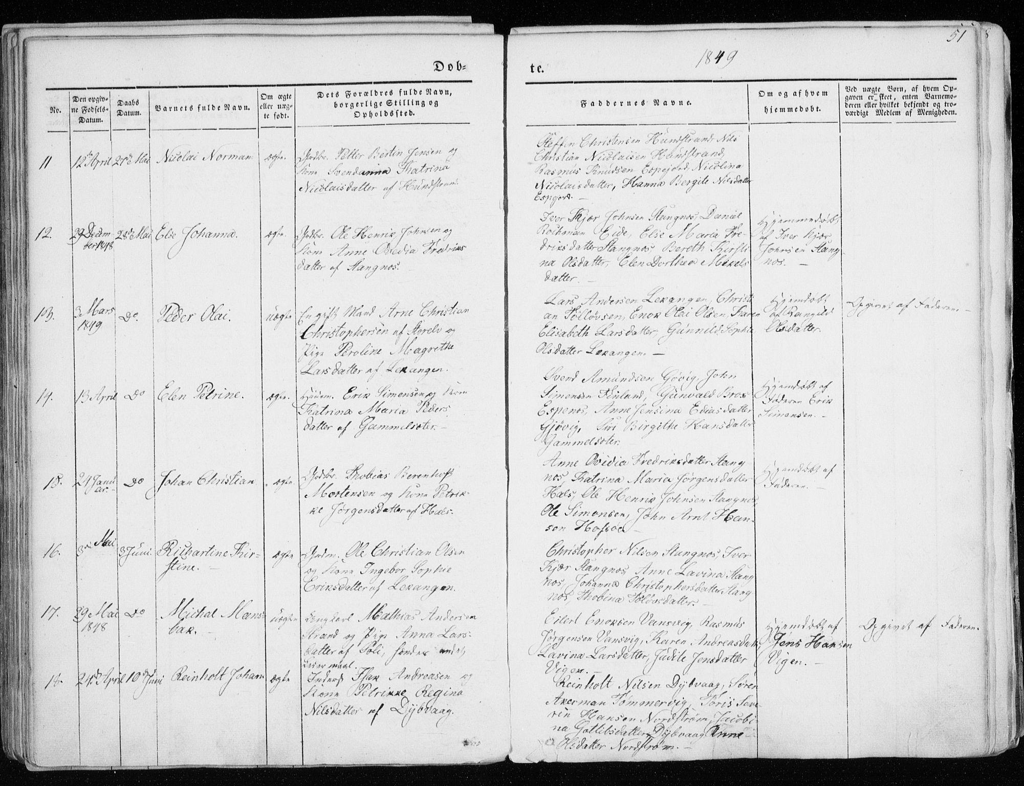SATØ, Tranøy sokneprestkontor, I/Ia/Iaa/L0006kirke: Ministerialbok nr. 6, 1844-1855, s. 51