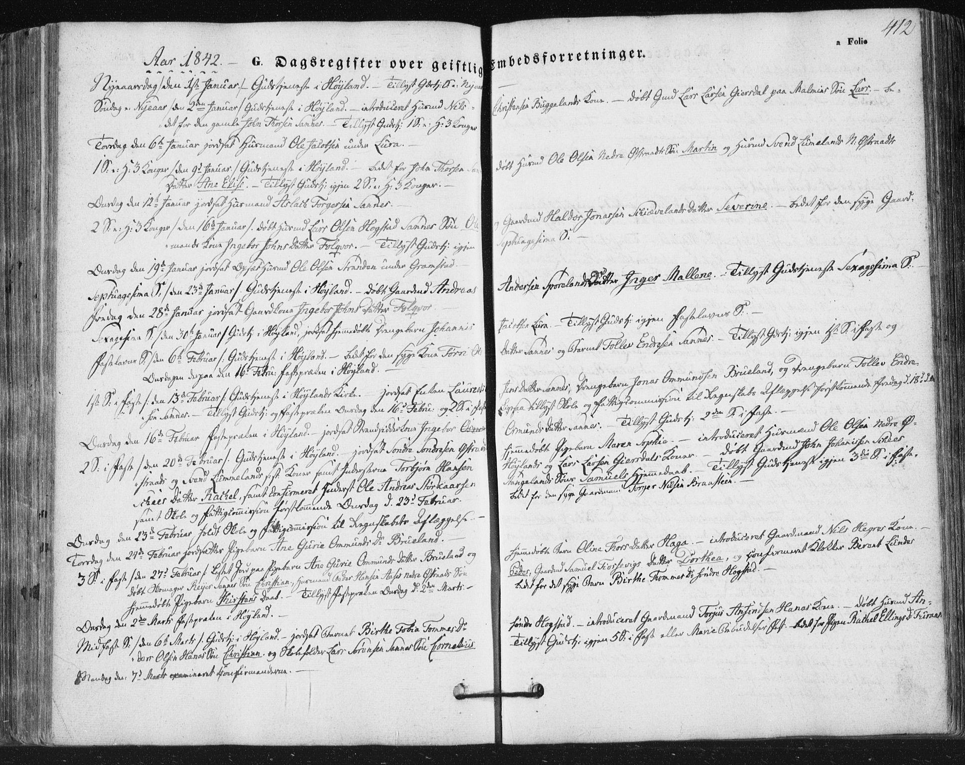 SAST, Høyland sokneprestkontor, 30BA/L0008: Ministerialbok nr. A 8, 1841-1856, s. 412