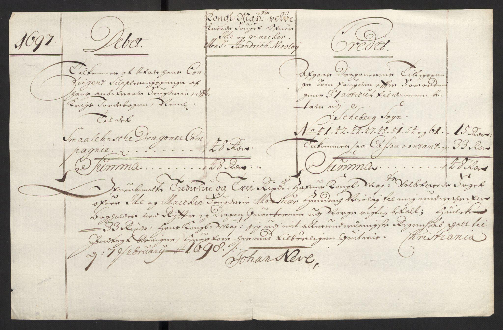 RA, Rentekammeret inntil 1814, Reviderte regnskaper, Fogderegnskap, R01/L0013: Fogderegnskap Idd og Marker, 1696-1698, s. 255