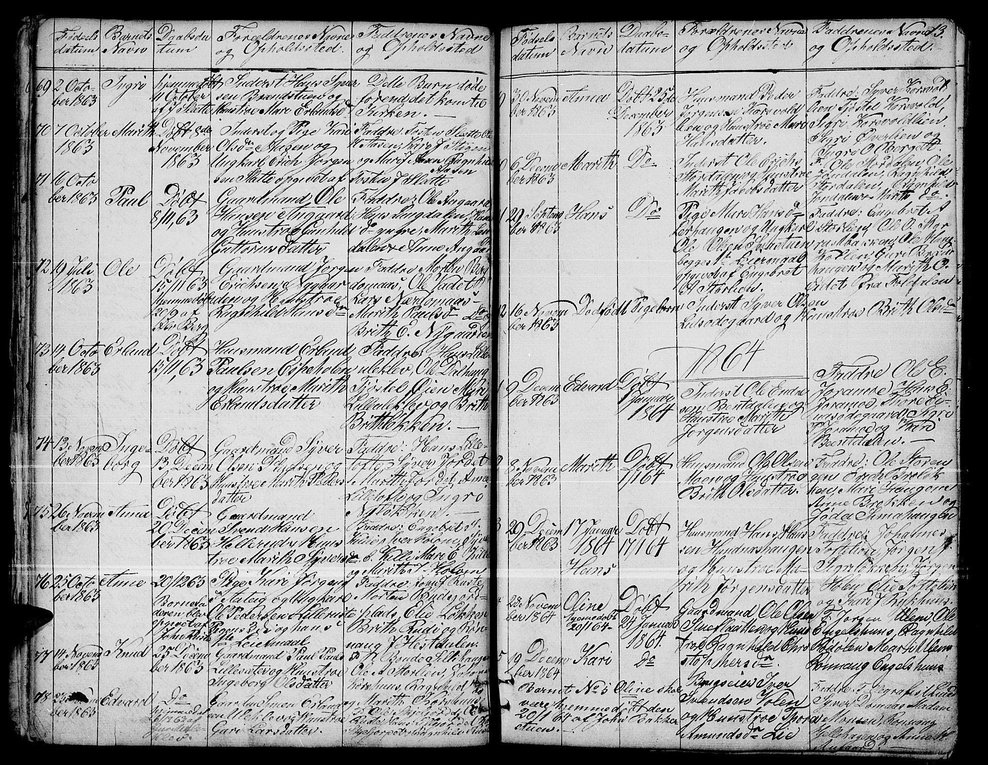 SAH, Dovre prestekontor, Klokkerbok nr. 1, 1862-1880, s. 13