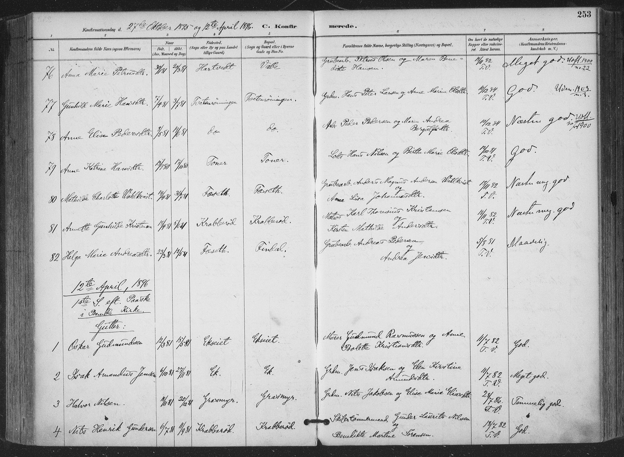 SAKO, Bamble kirkebøker, F/Fa/L0008: Ministerialbok nr. I 8, 1888-1900, s. 253