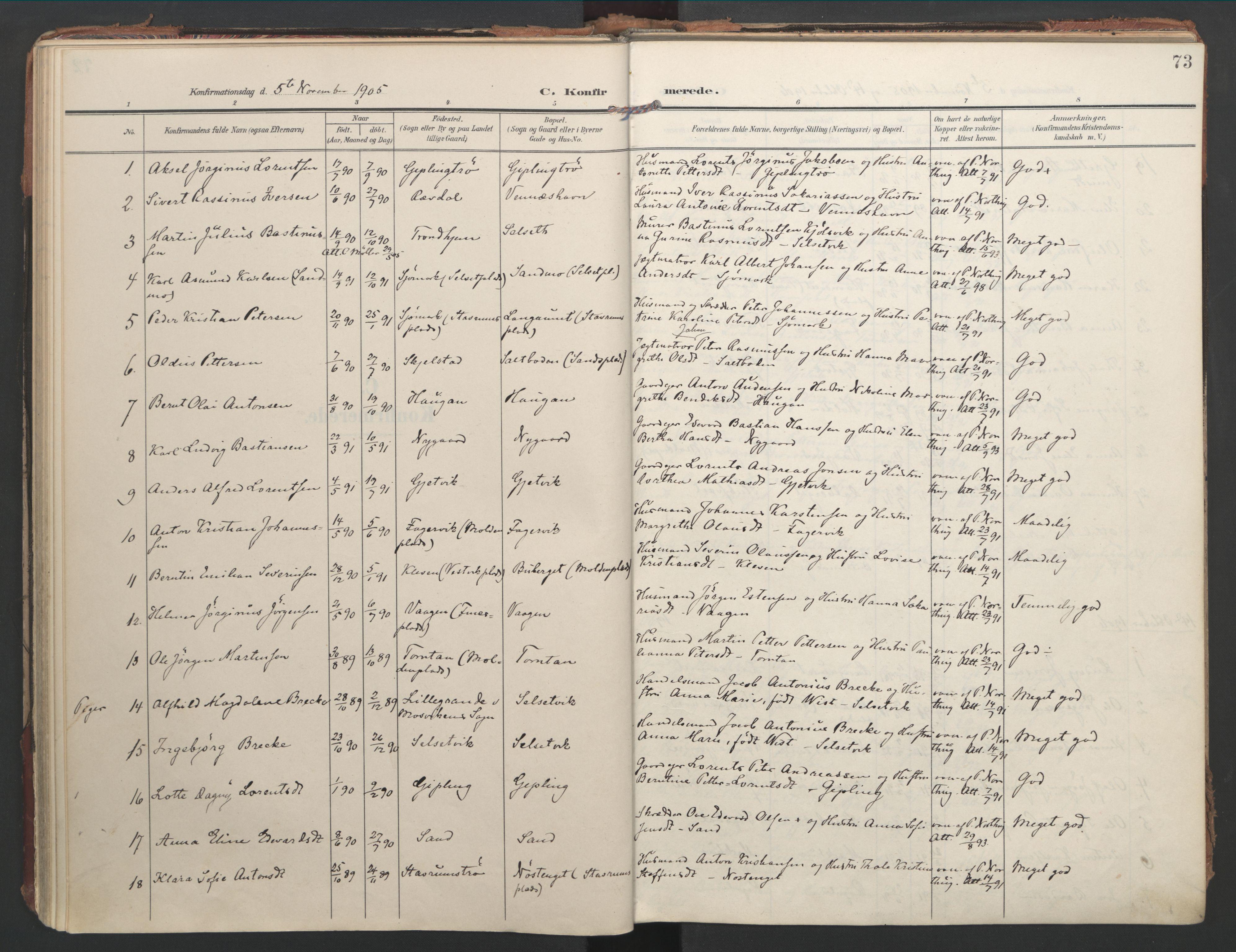 SAT, Ministerialprotokoller, klokkerbøker og fødselsregistre - Nord-Trøndelag, 744/L0421: Ministerialbok nr. 744A05, 1905-1930, s. 73