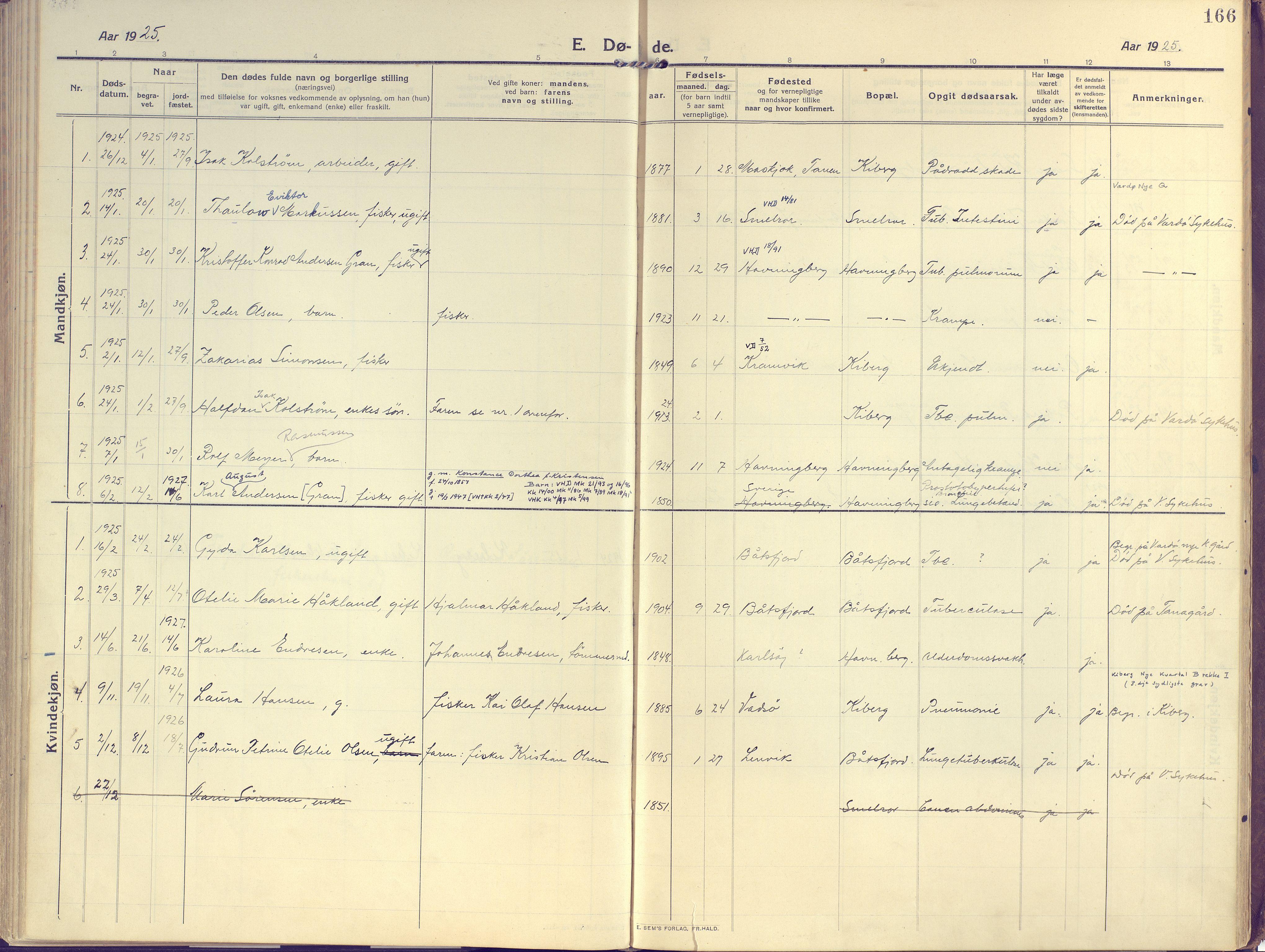 SATØ, Vardø sokneprestkontor, H/Ha/L0013kirke: Ministerialbok nr. 13, 1912-1928, s. 166