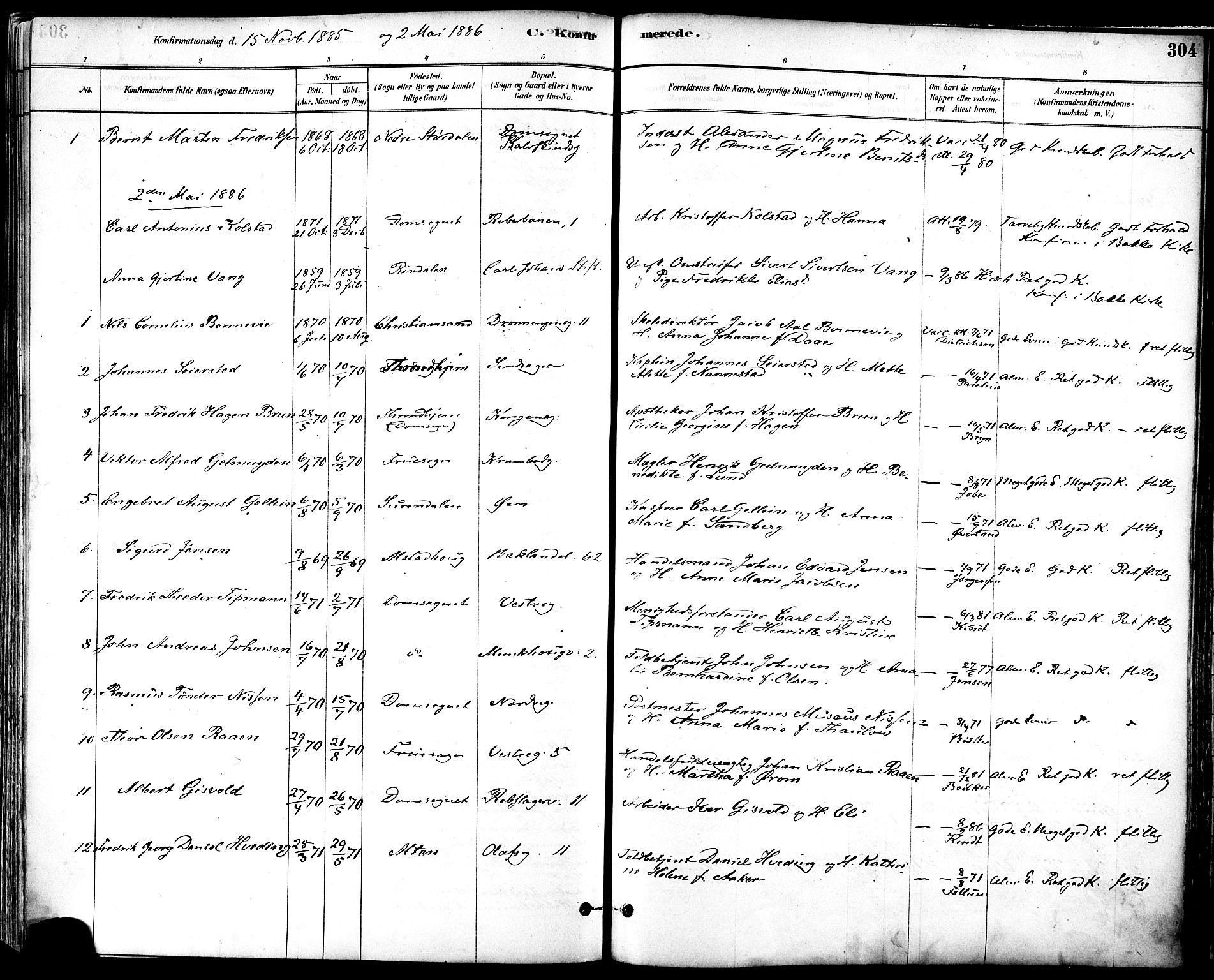 SAT, Ministerialprotokoller, klokkerbøker og fødselsregistre - Sør-Trøndelag, 601/L0057: Ministerialbok nr. 601A25, 1877-1891, s. 304