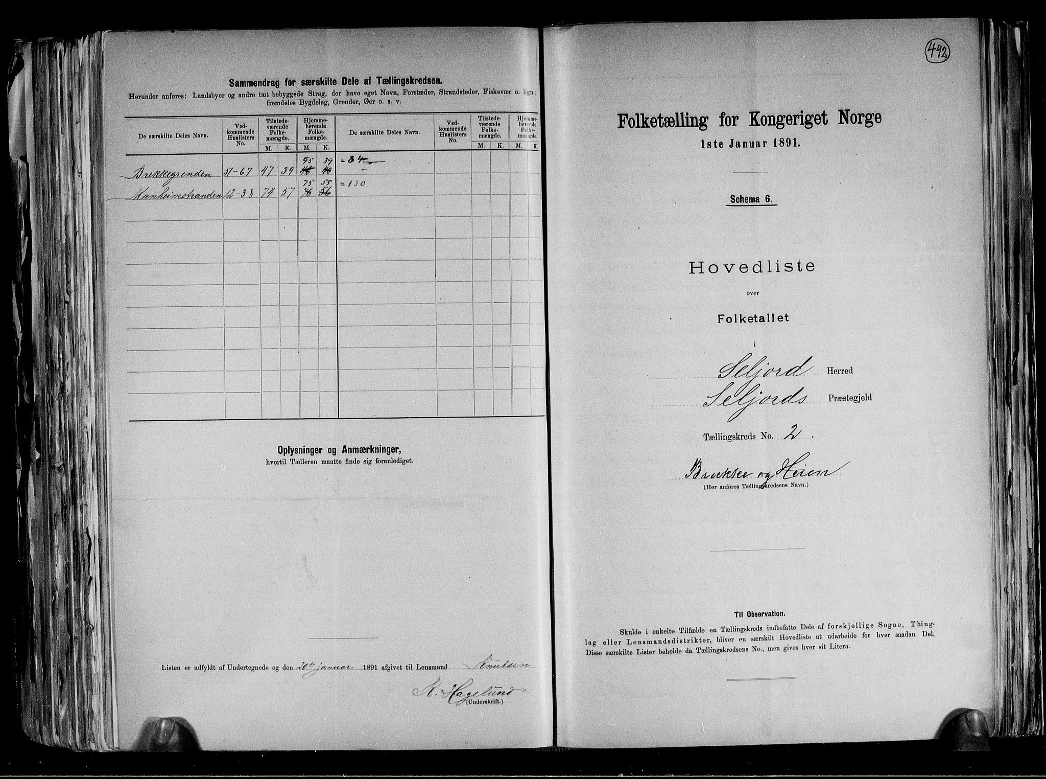 RA, Folketelling 1891 for 0828 Seljord herred, 1891, s. 6