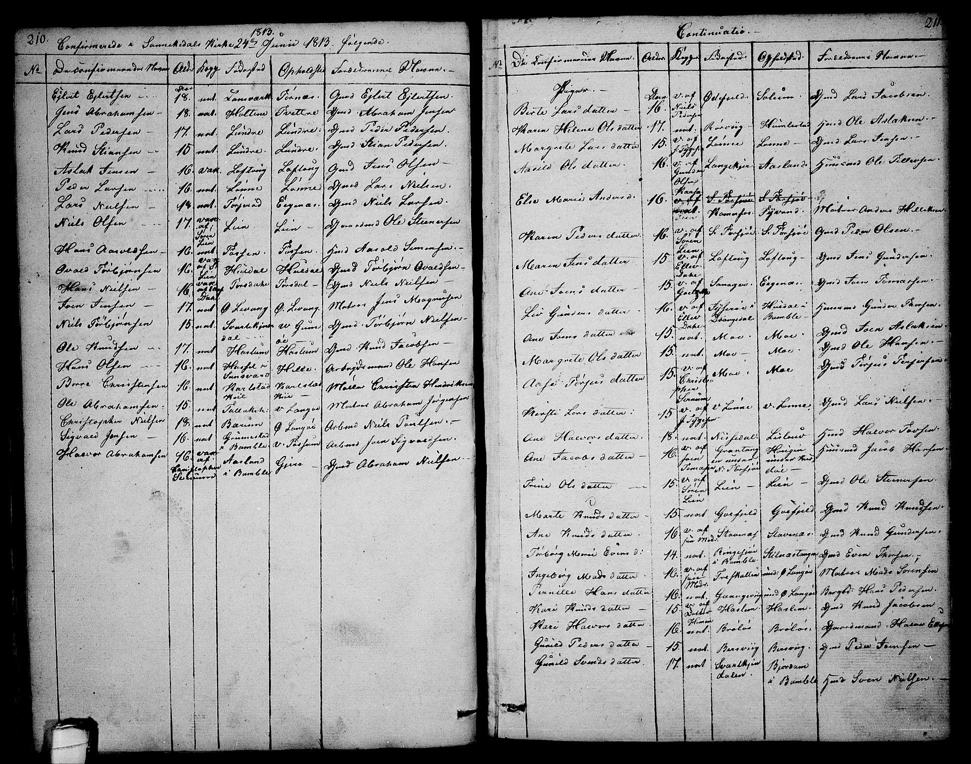 SAKO, Sannidal kirkebøker, F/Fa/L0003: Ministerialbok nr. 3, 1803-1813, s. 210-211
