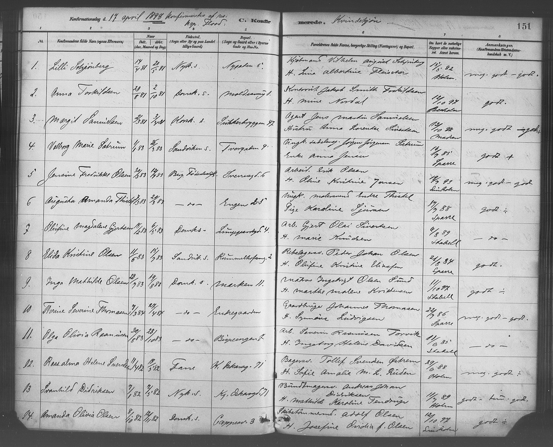 SAB, Domkirken Sokneprestembete, H/Haa/L0030: Ministerialbok nr. C 5, 1880-1898, s. 151