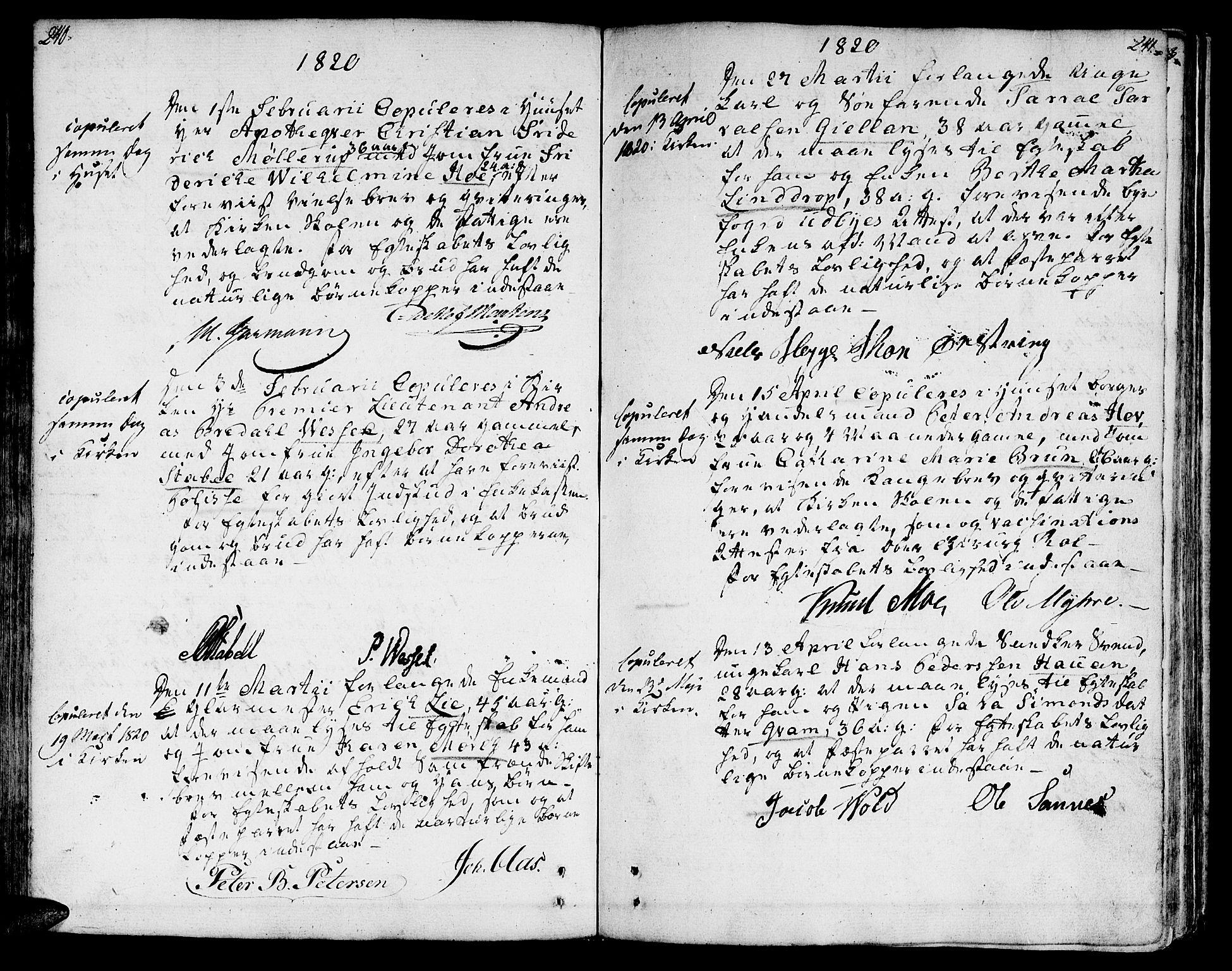 SAT, Ministerialprotokoller, klokkerbøker og fødselsregistre - Sør-Trøndelag, 601/L0042: Ministerialbok nr. 601A10, 1802-1830, s. 240-241