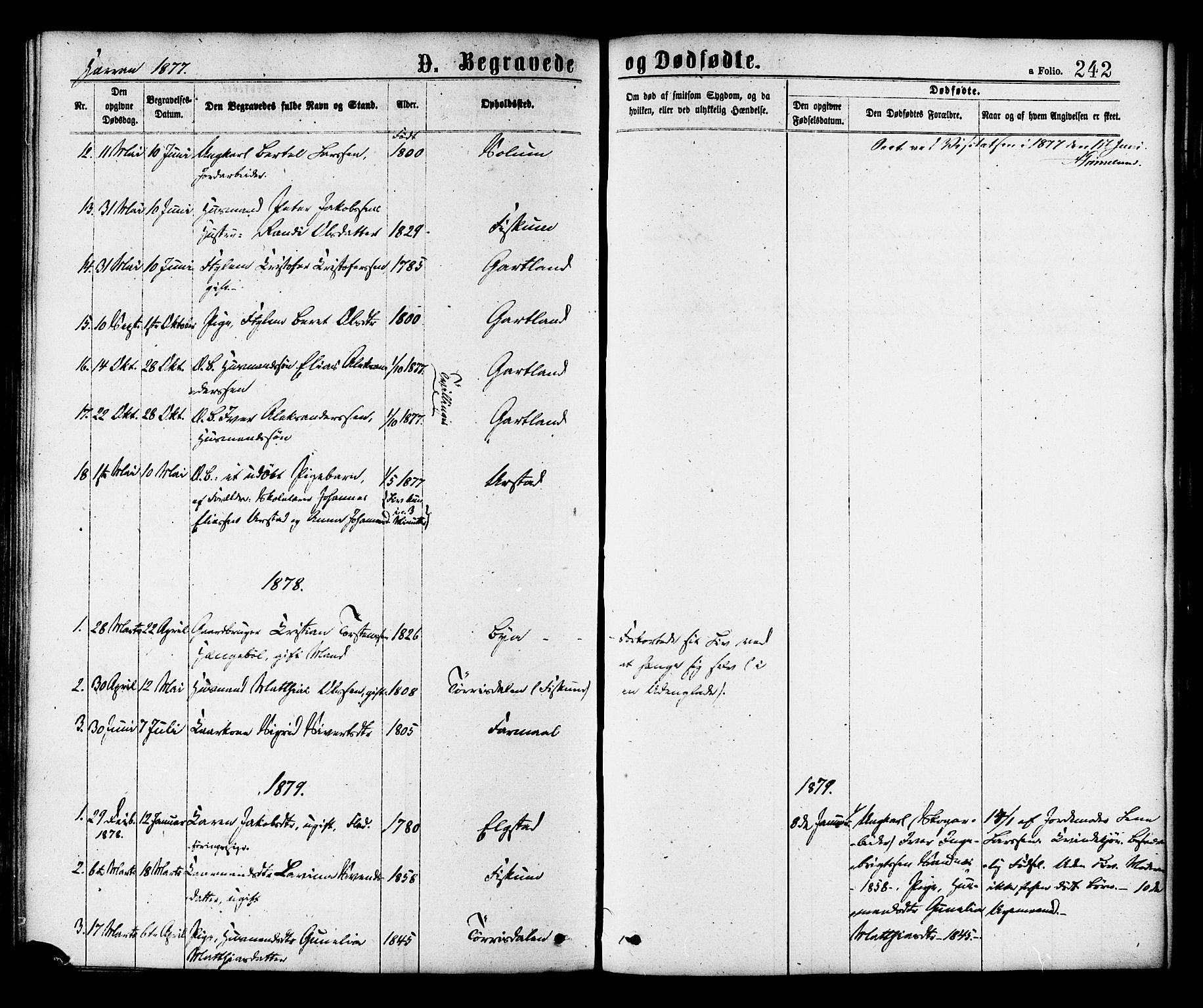 SAT, Ministerialprotokoller, klokkerbøker og fødselsregistre - Nord-Trøndelag, 758/L0516: Ministerialbok nr. 758A03 /3, 1869-1879, s. 242
