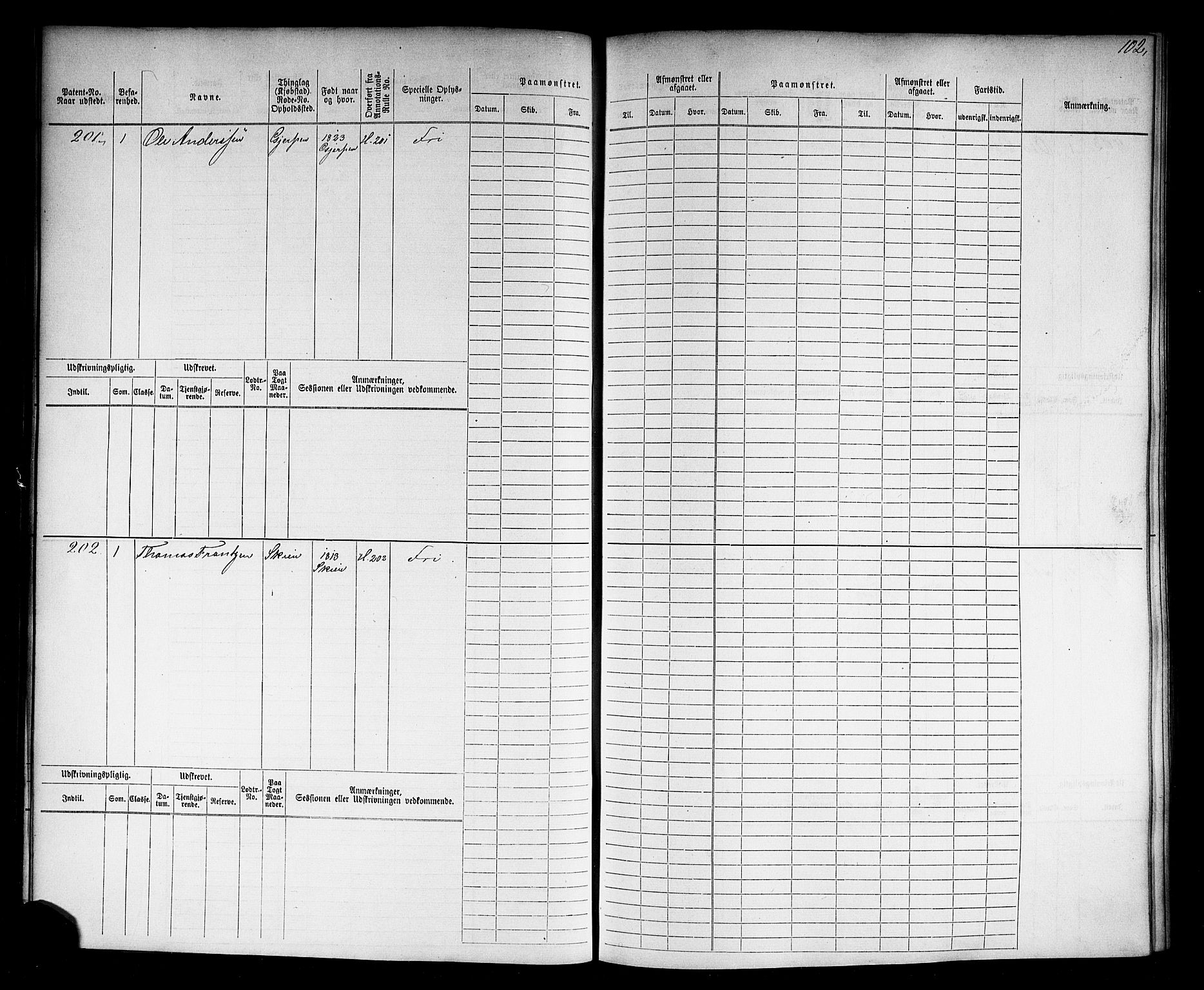 SAKO, Skien innrulleringskontor, F/Fb/L0003: Hovedrulle, 1868-1871, s. 103