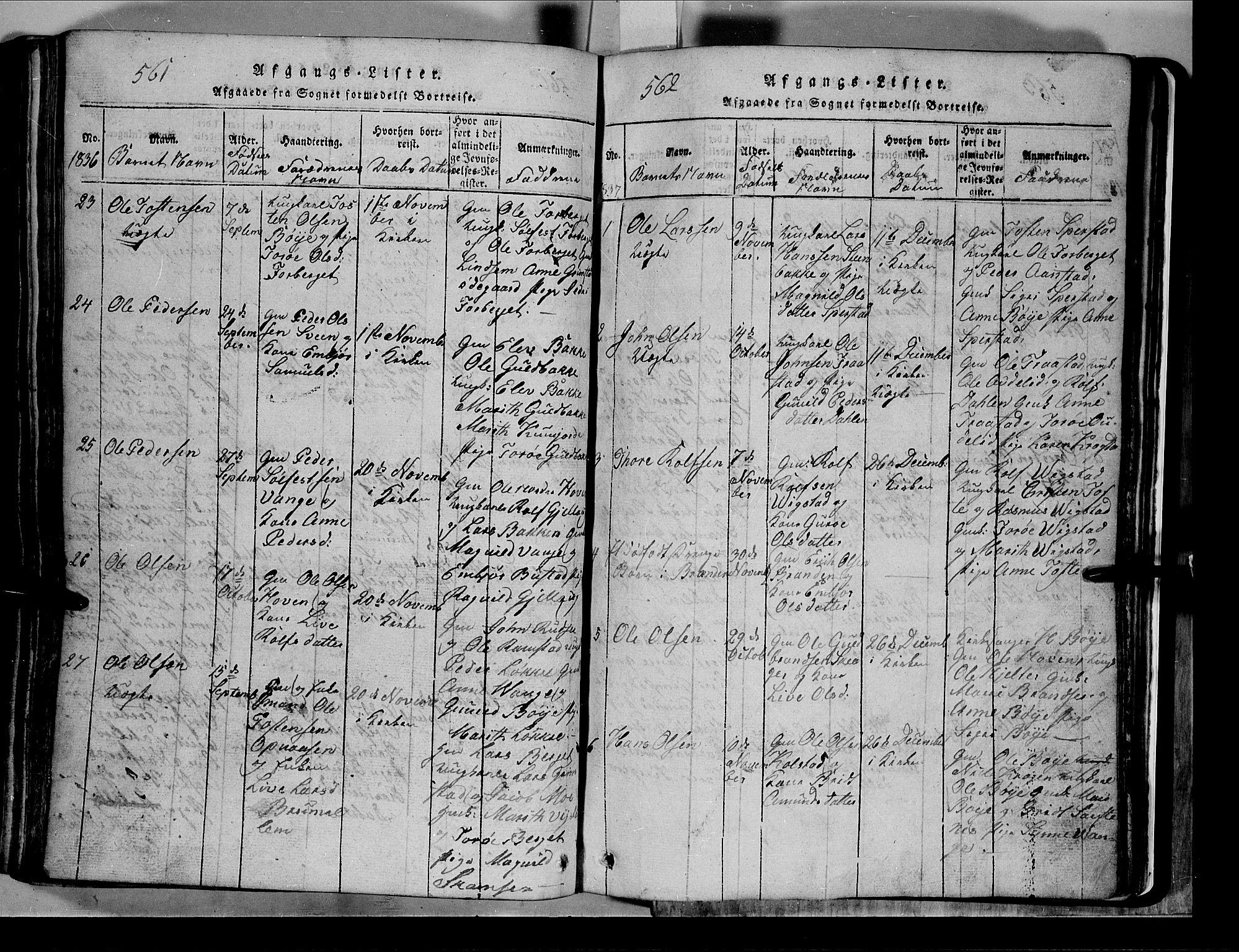 SAH, Lom prestekontor, L/L0003: Klokkerbok nr. 3, 1815-1844, s. 561-562