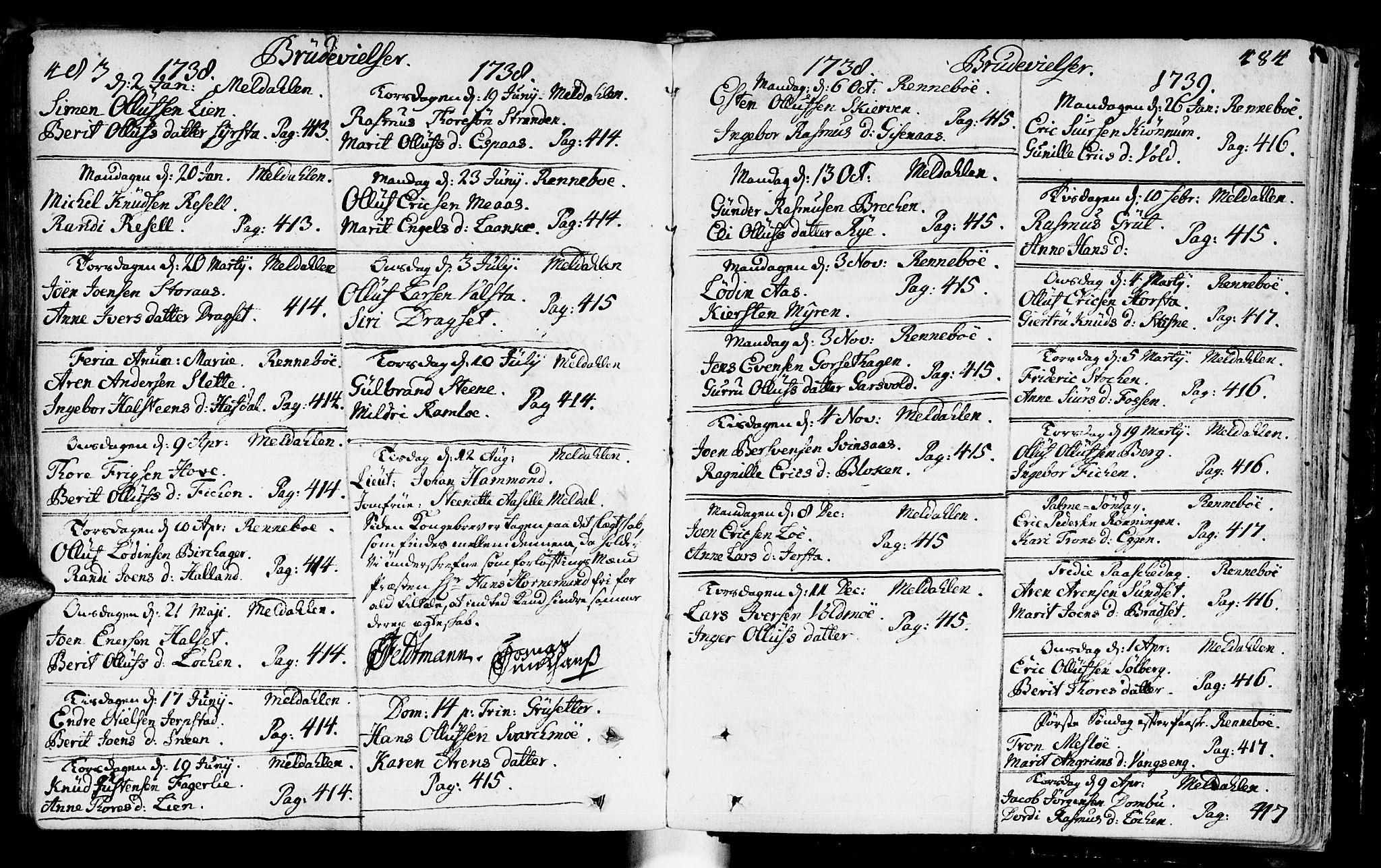 SAT, Ministerialprotokoller, klokkerbøker og fødselsregistre - Sør-Trøndelag, 672/L0850: Ministerialbok nr. 672A03, 1725-1751, s. 483-484