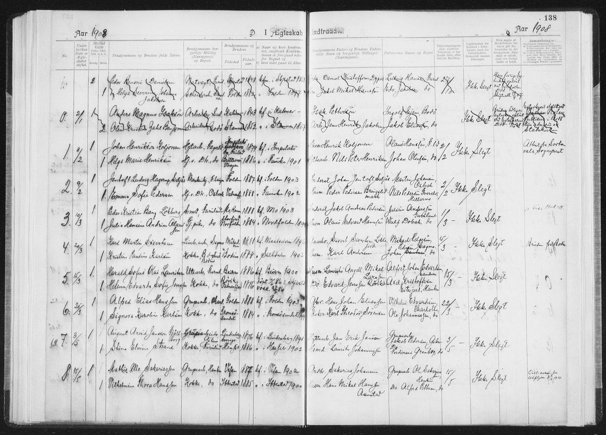 SAT, Ministerialprotokoller, klokkerbøker og fødselsregistre - Nordland, 850/L0711: Residerende kapellans bok nr. 850B01, 1902-1915, s. 138