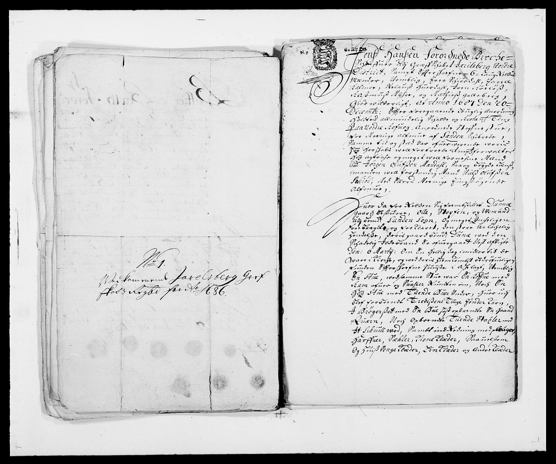 RA, Rentekammeret inntil 1814, Reviderte regnskaper, Fogderegnskap, R32/L1858: Fogderegnskap Jarlsberg grevskap, 1686-1690, s. 429