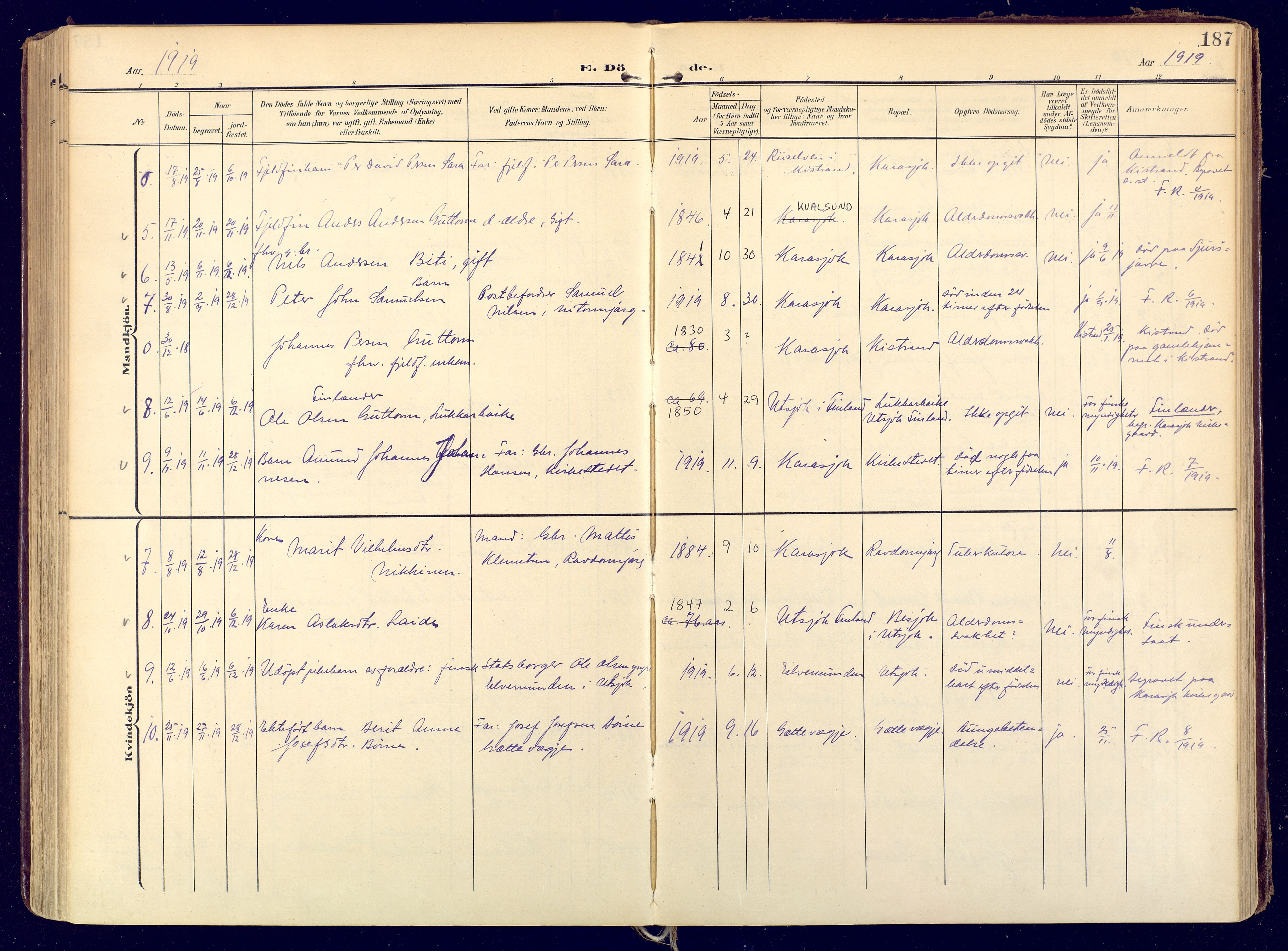 SATØ, Karasjok sokneprestkontor, H/Ha: Ministerialbok nr. 3, 1907-1926, s. 187