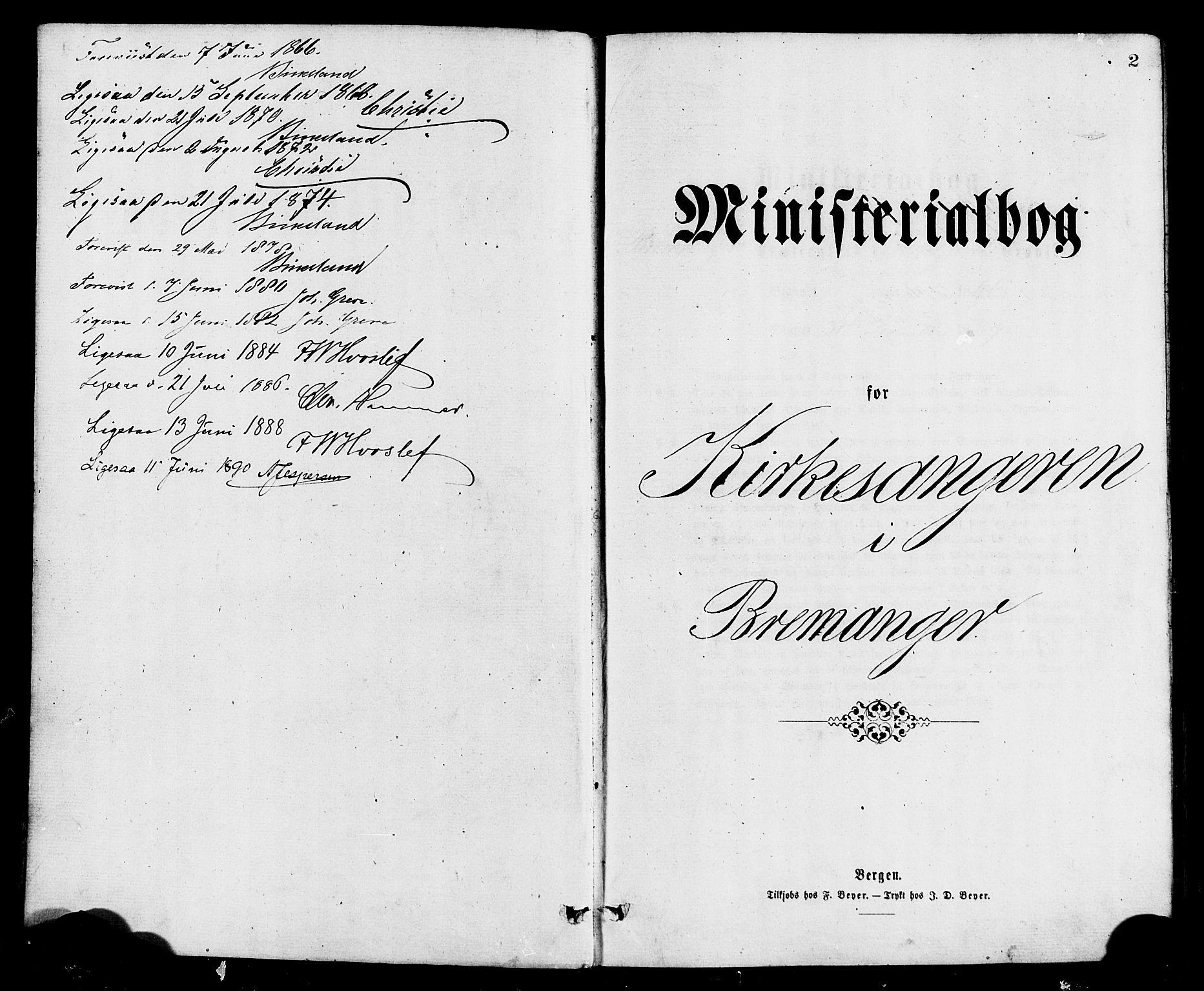 SAB, Bremanger Sokneprestembete, H/Hab: Klokkerbok nr. A 2, 1866-1889, s. 2