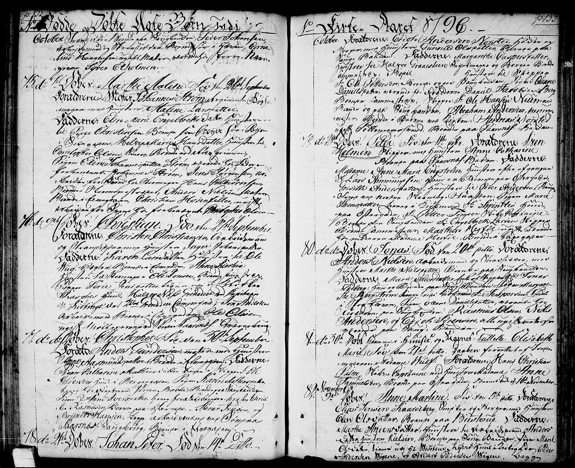SAO, Halden prestekontor Kirkebøker, F/Fa/L0002: Ministerialbok nr. I 2, 1792-1812, s. 132-133