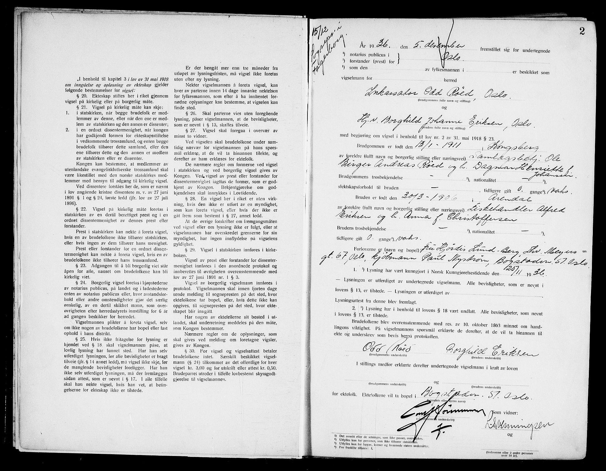 SAO, Oslo byfogd avd. I, L/Lb/Lbb/L0027: Notarialprotokoll, rekke II: Vigsler, 1936-1937, s. 1b-2a