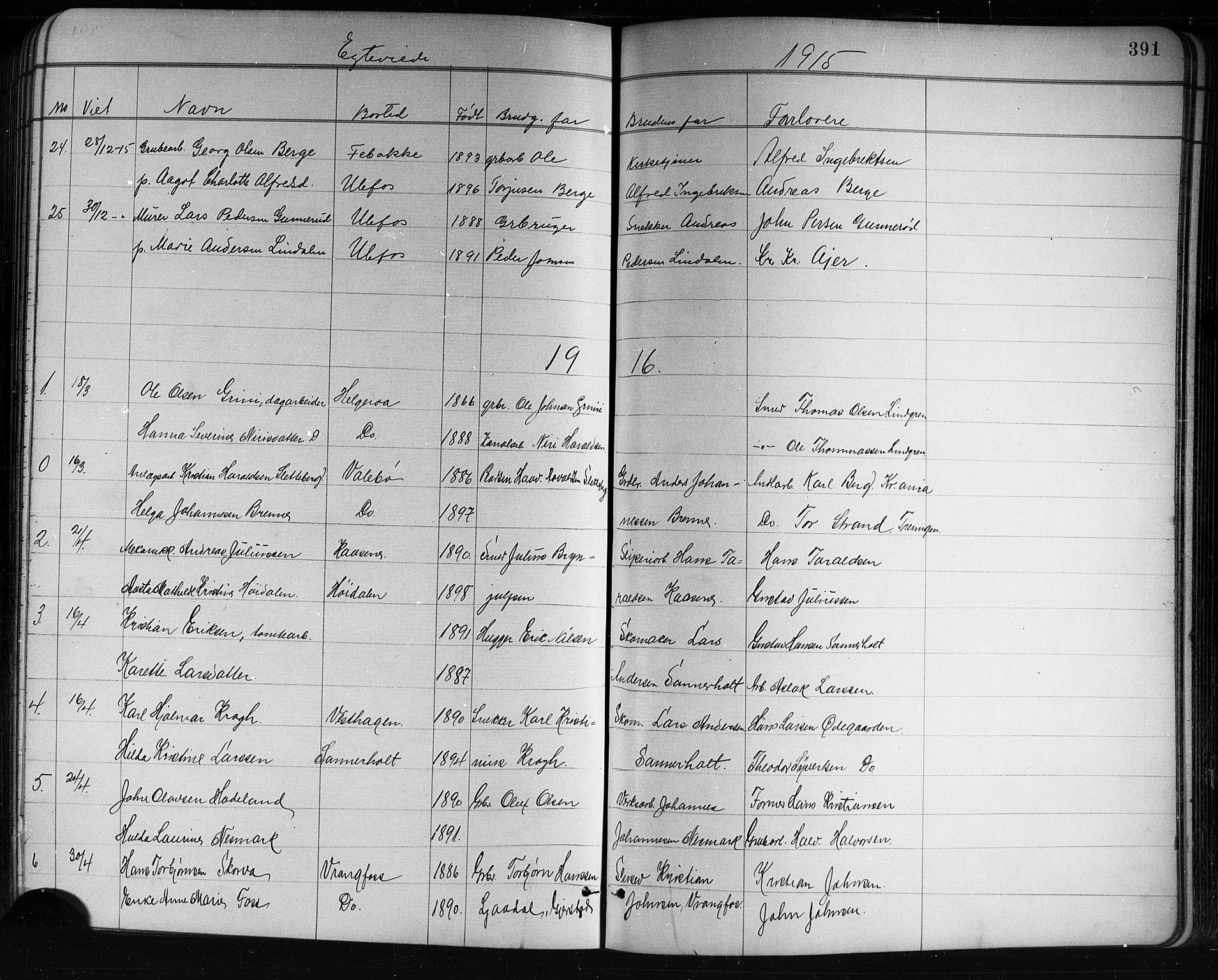 SAKO, Holla kirkebøker, G/Ga/L0005: Klokkerbok nr. I 5, 1891-1917, s. 391