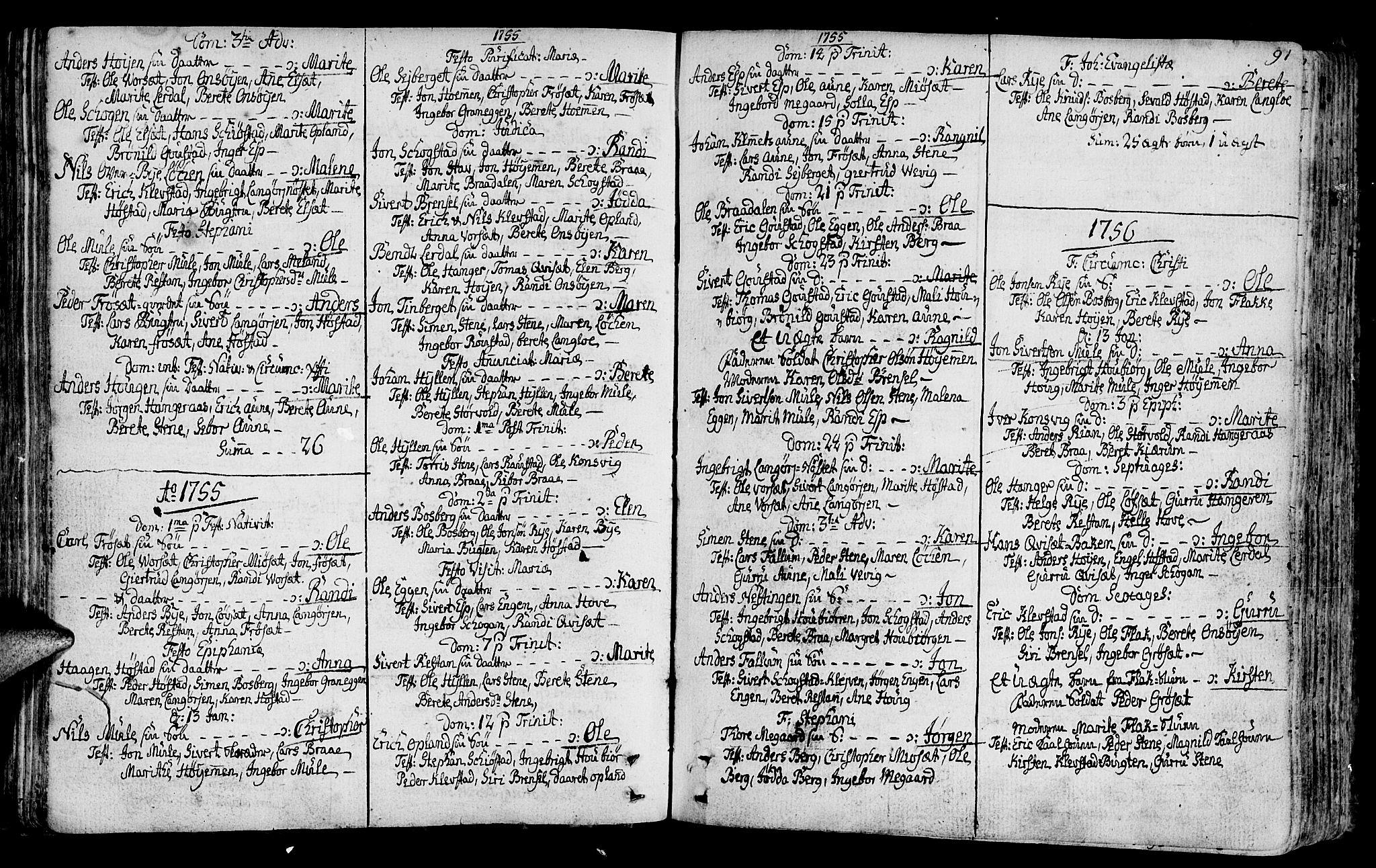 SAT, Ministerialprotokoller, klokkerbøker og fødselsregistre - Sør-Trøndelag, 612/L0370: Ministerialbok nr. 612A04, 1754-1802, s. 91