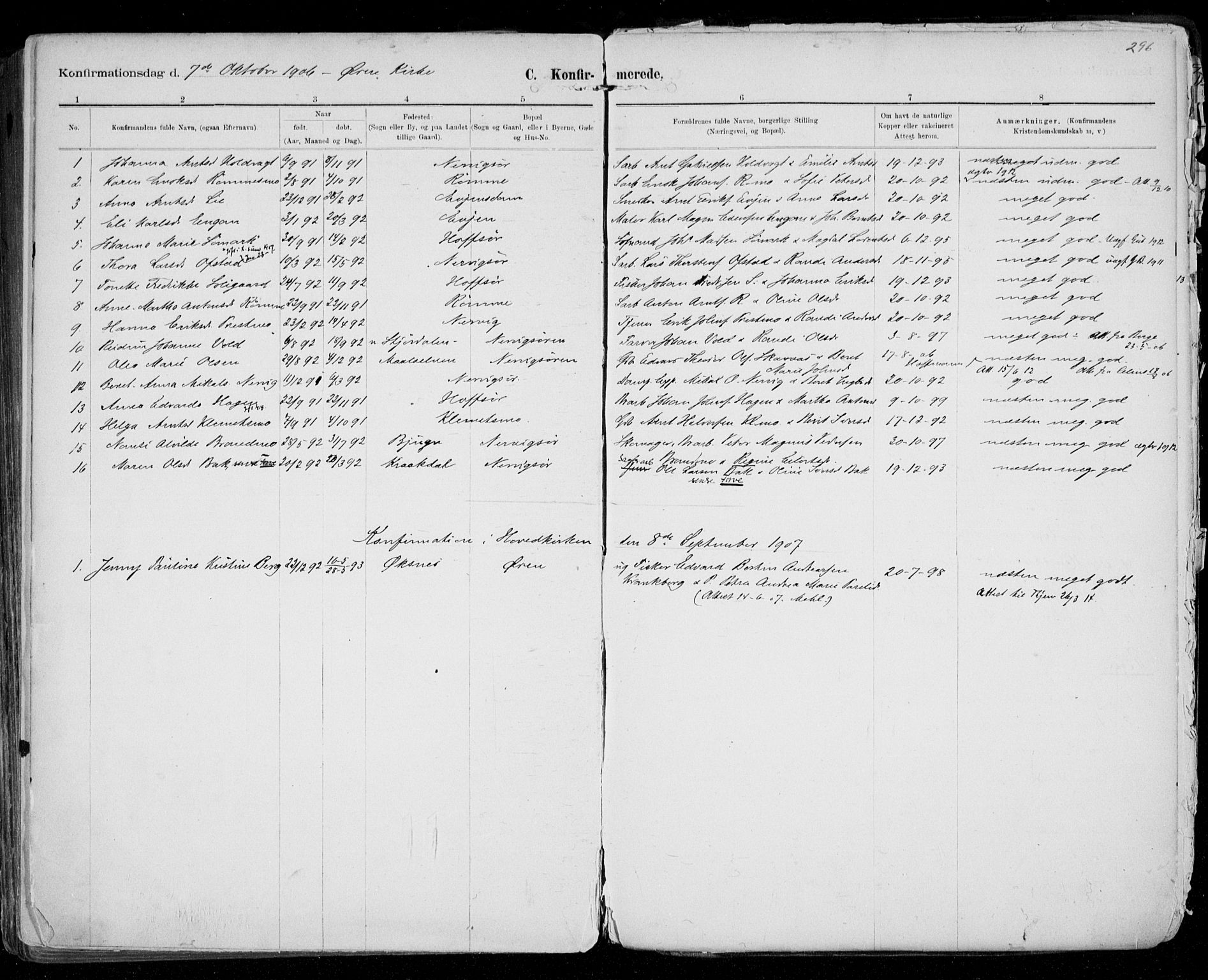 SAT, Ministerialprotokoller, klokkerbøker og fødselsregistre - Sør-Trøndelag, 668/L0811: Ministerialbok nr. 668A11, 1894-1913, s. 296