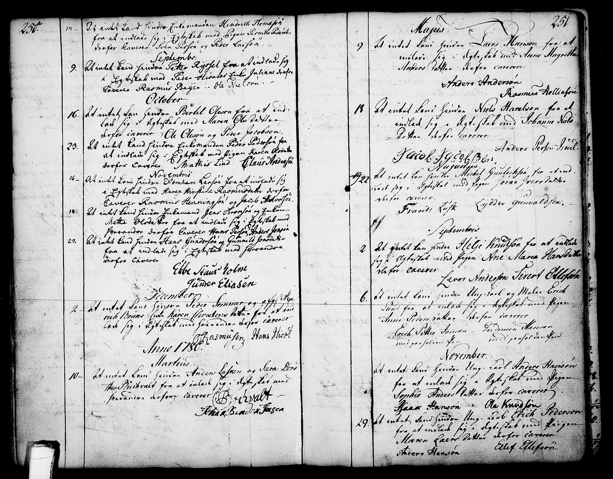 SAKO, Skien kirkebøker, F/Fa/L0003: Ministerialbok nr. 3, 1755-1791, s. 250-251