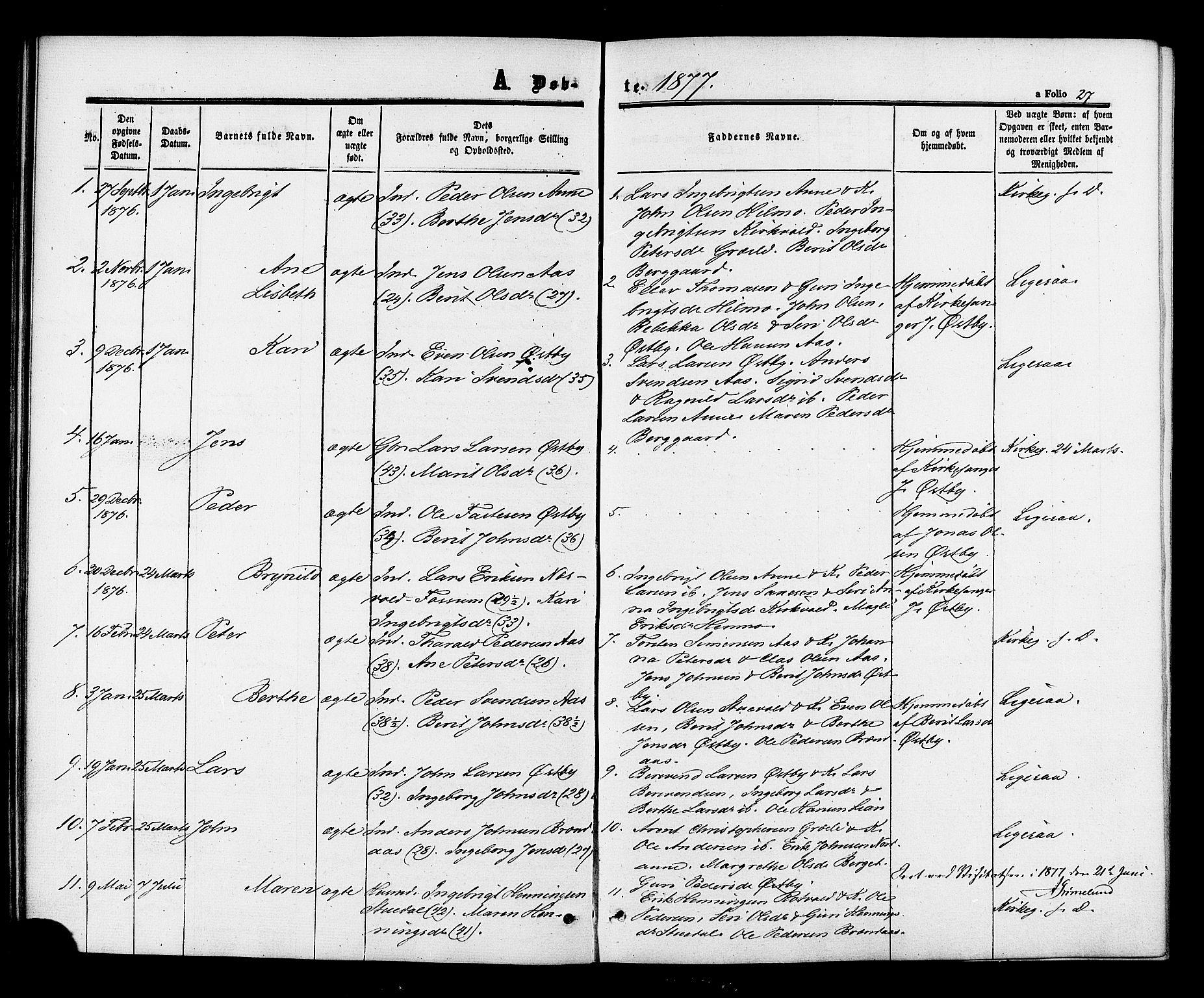 SAT, Ministerialprotokoller, klokkerbøker og fødselsregistre - Sør-Trøndelag, 698/L1163: Ministerialbok nr. 698A01, 1862-1887, s. 27