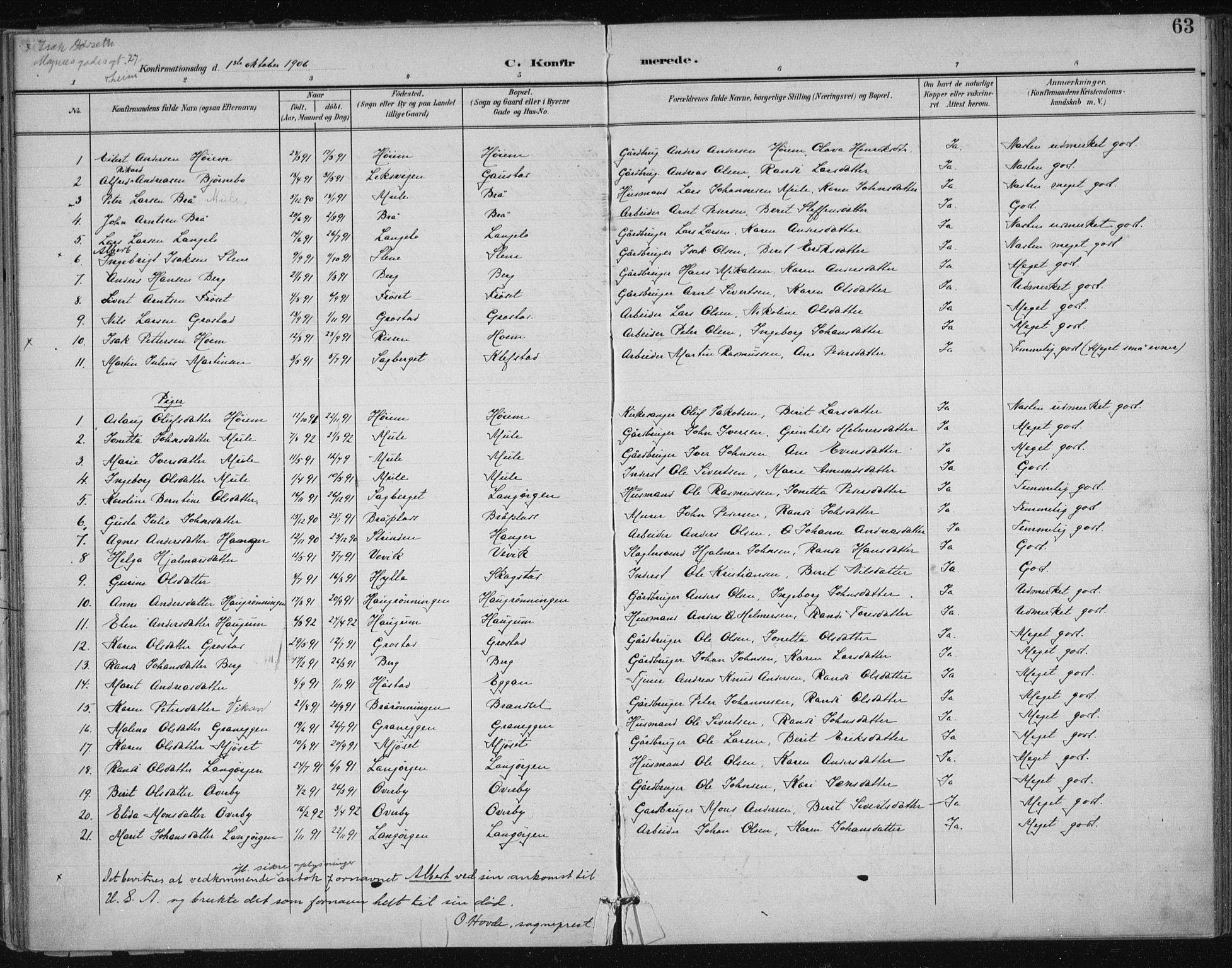 SAT, Ministerialprotokoller, klokkerbøker og fødselsregistre - Sør-Trøndelag, 612/L0380: Ministerialbok nr. 612A12, 1898-1907, s. 63