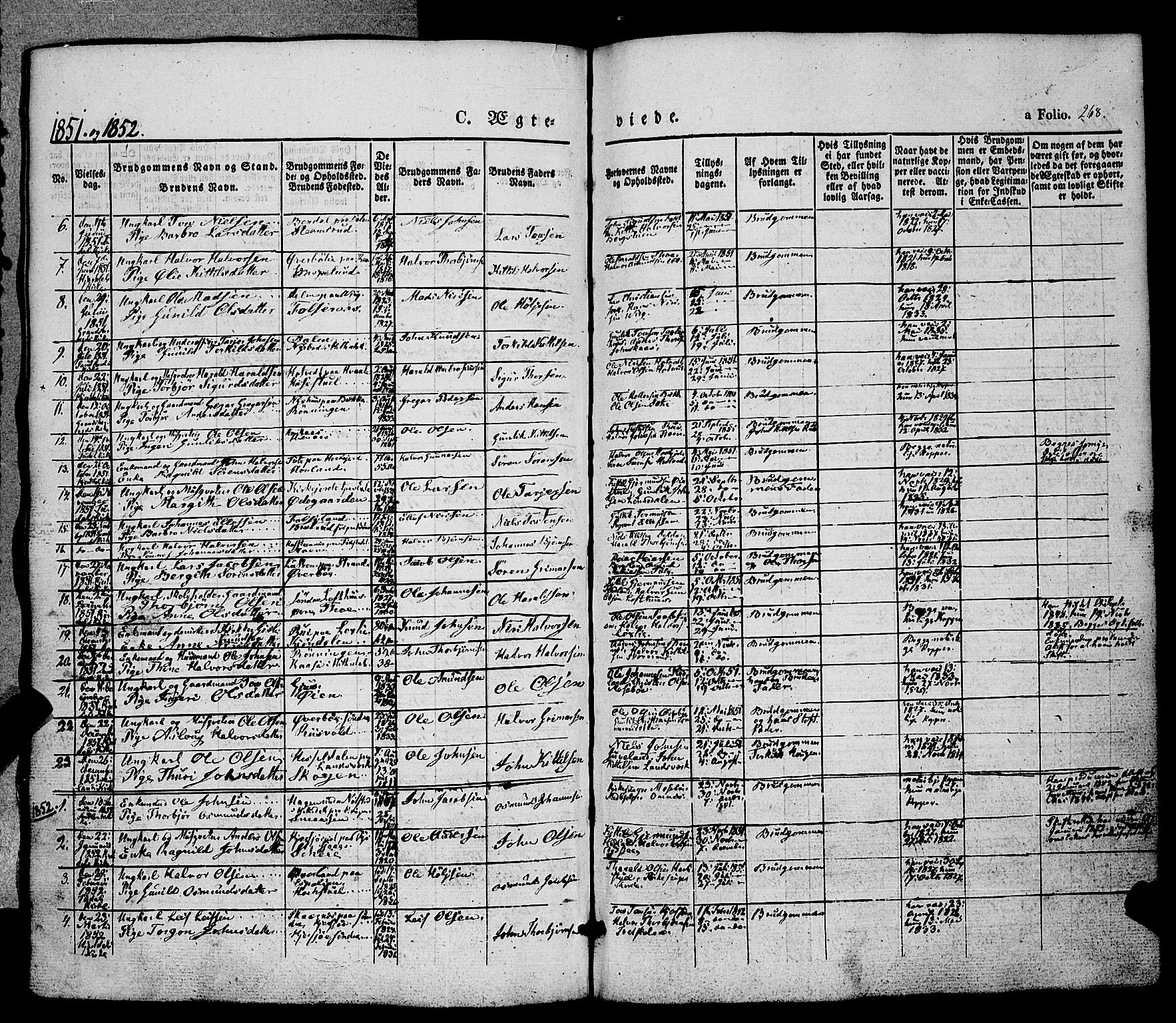 SAKO, Hjartdal kirkebøker, F/Fa/L0008: Ministerialbok nr. I 8, 1844-1859, s. 268