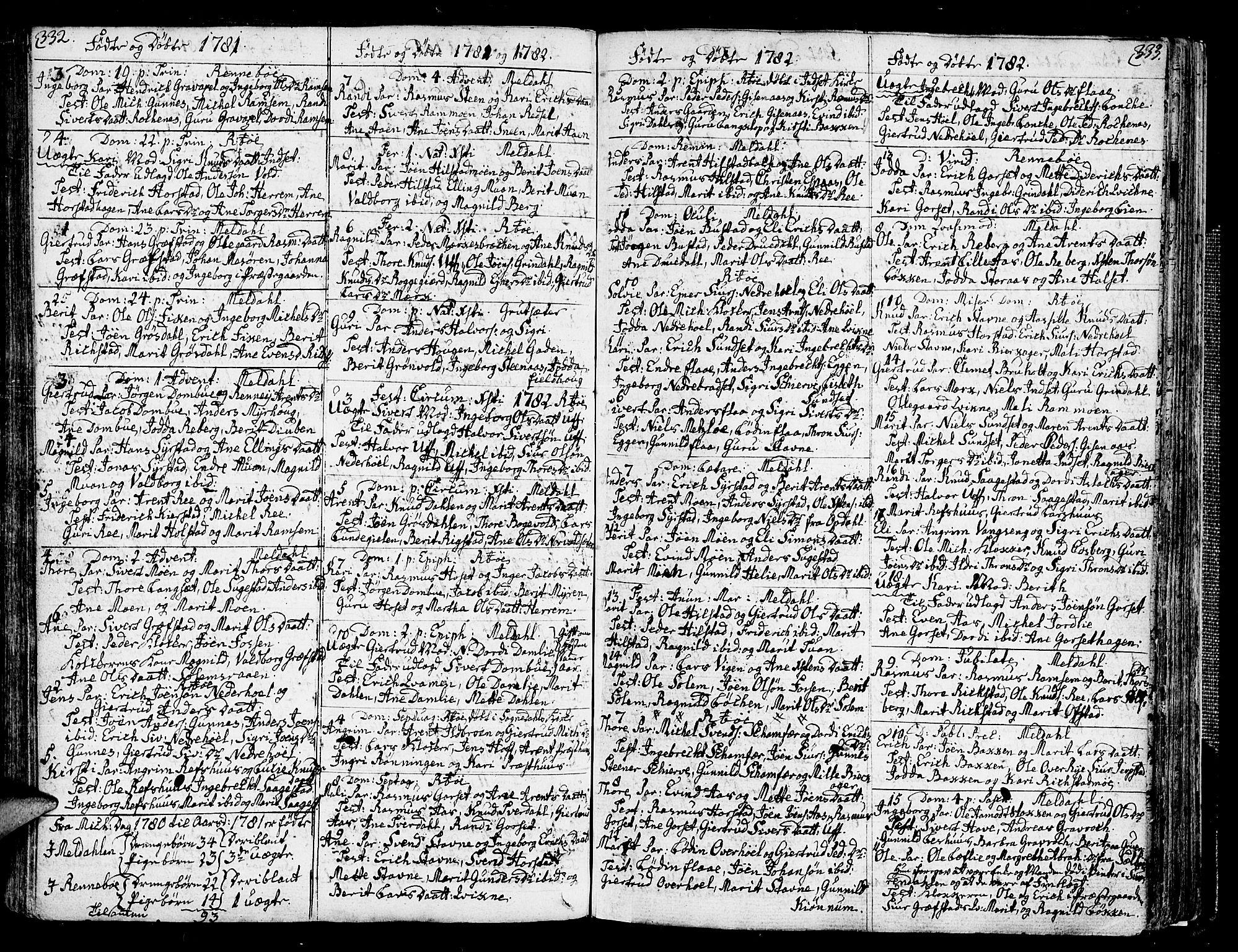 SAT, Ministerialprotokoller, klokkerbøker og fødselsregistre - Sør-Trøndelag, 672/L0852: Ministerialbok nr. 672A05, 1776-1815, s. 332-333