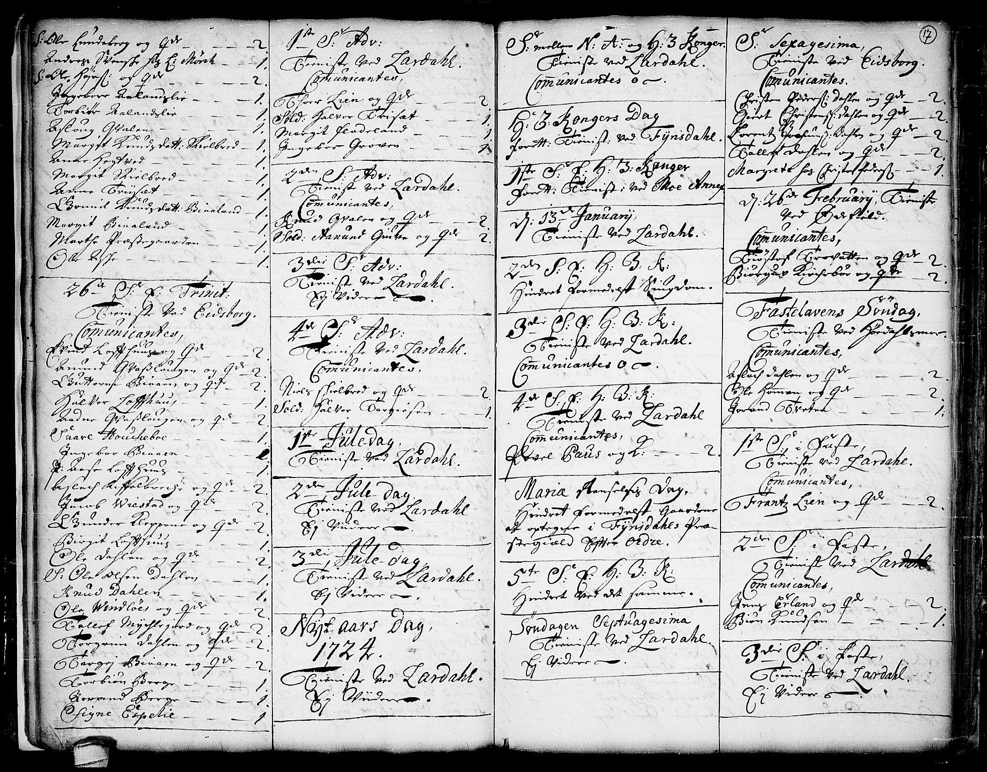 SAKO, Lårdal kirkebøker, F/Fa/L0001: Ministerialbok nr. I 1, 1721-1734, s. 17