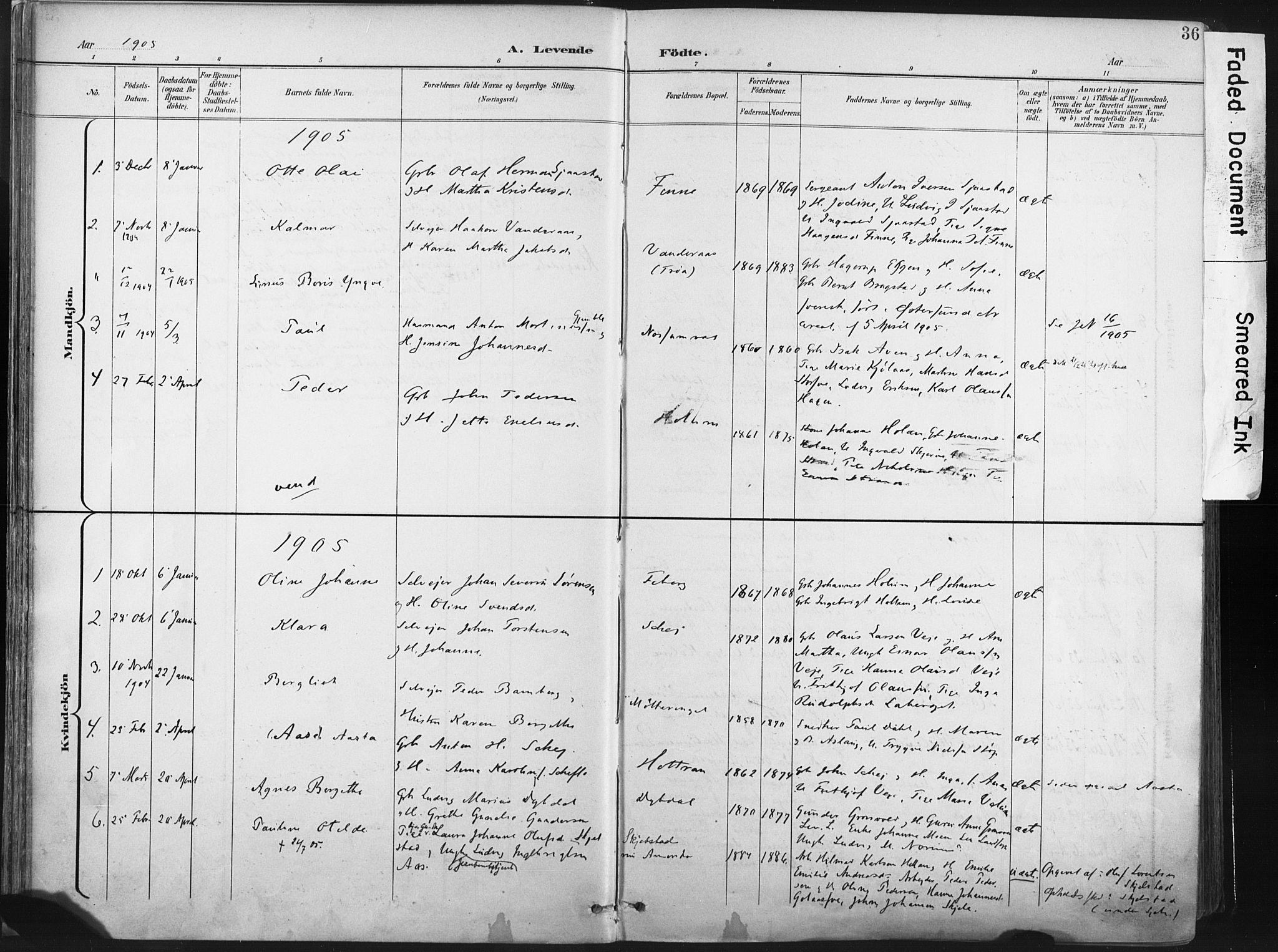 SAT, Ministerialprotokoller, klokkerbøker og fødselsregistre - Nord-Trøndelag, 717/L0162: Ministerialbok nr. 717A12, 1898-1923, s. 36