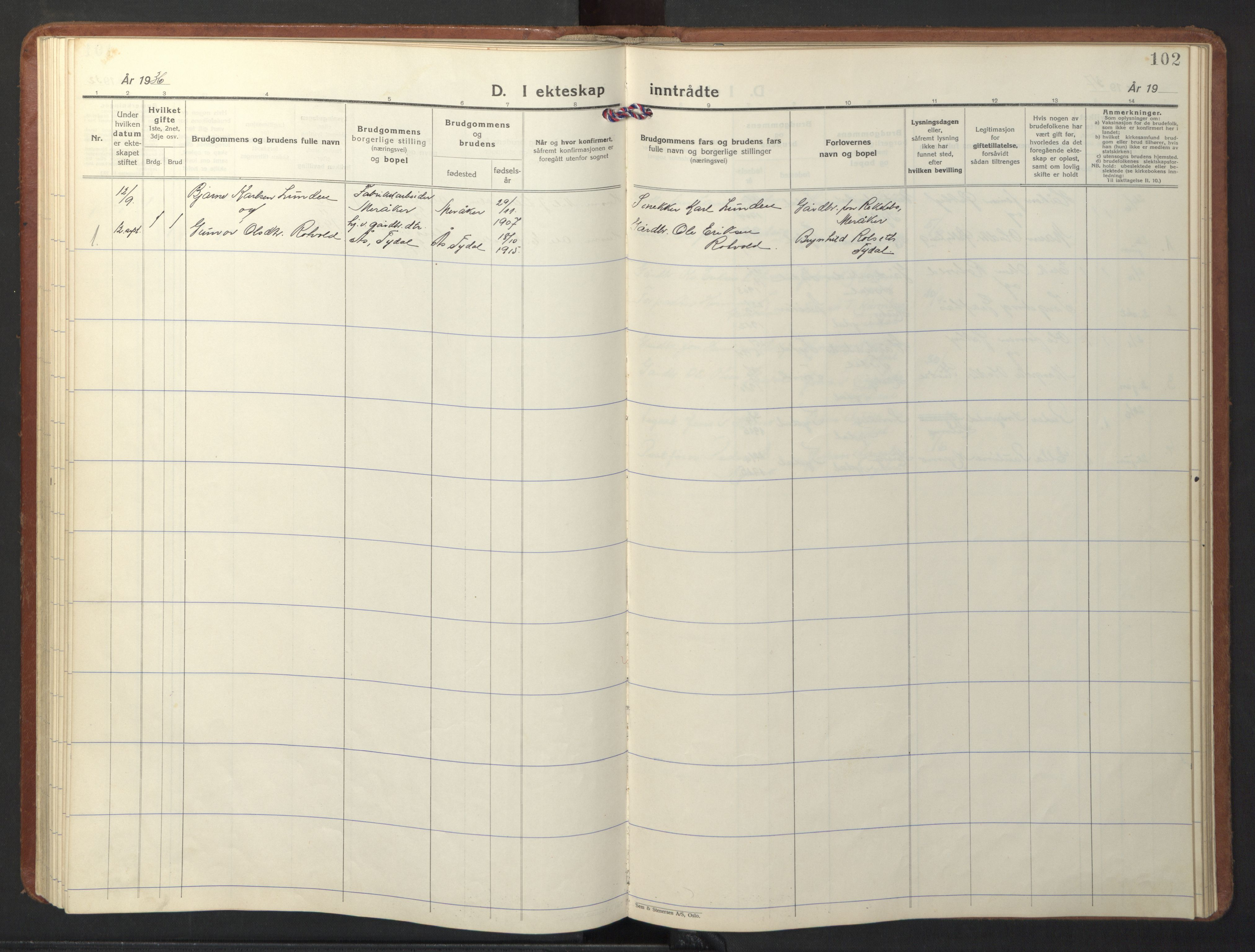 SAT, Ministerialprotokoller, klokkerbøker og fødselsregistre - Sør-Trøndelag, 698/L1169: Klokkerbok nr. 698C06, 1930-1949, s. 102