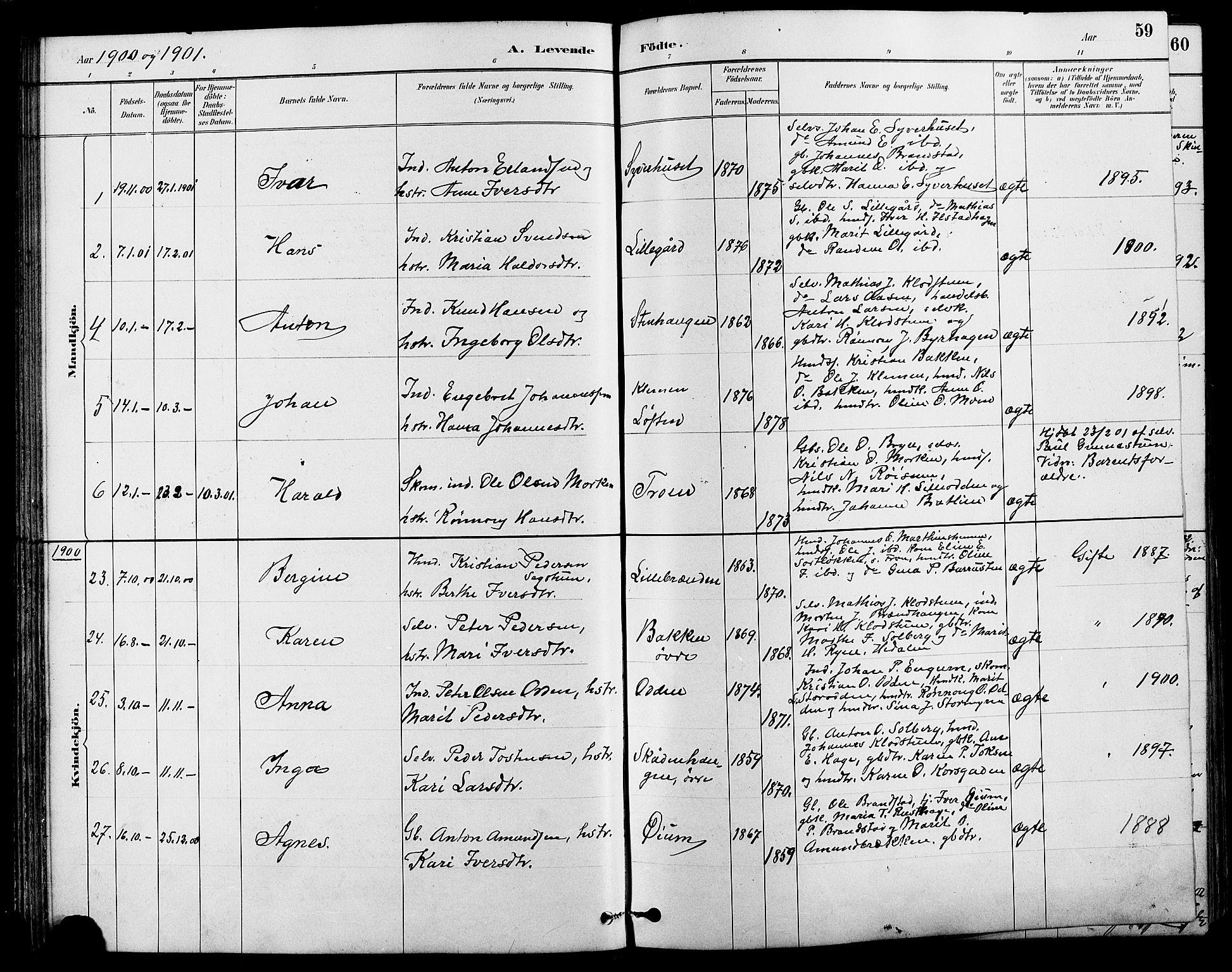 SAH, Nord-Fron prestekontor, Klokkerbok nr. 4, 1884-1914, s. 59