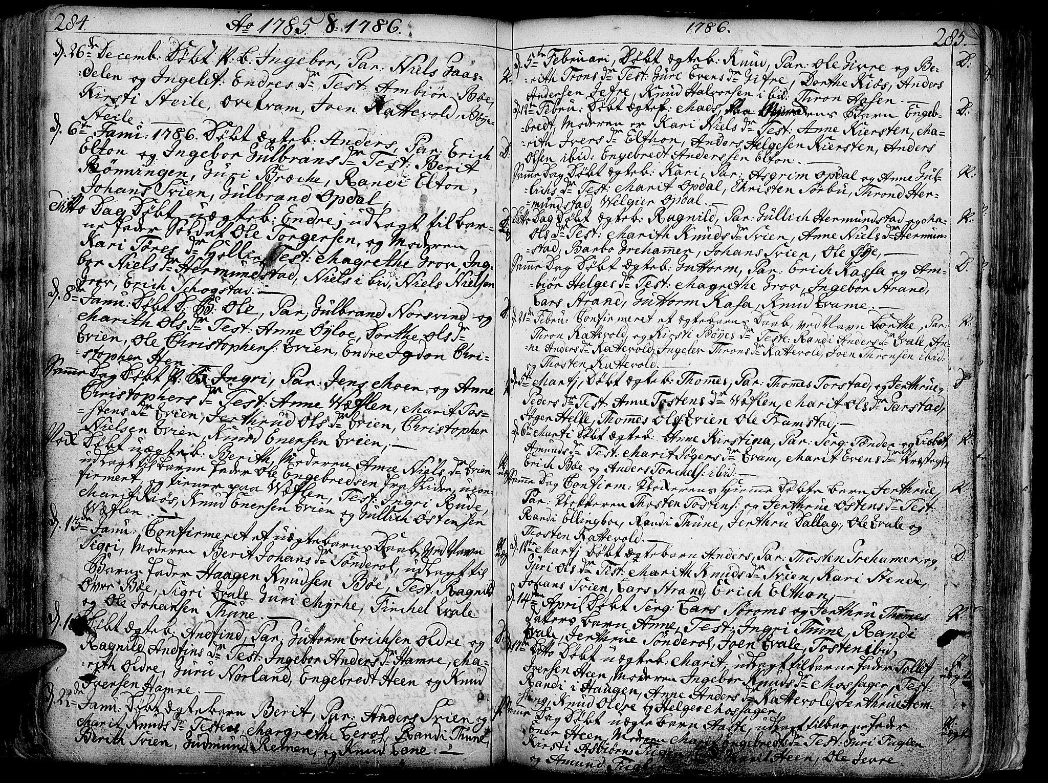 SAH, Vang prestekontor, Valdres, Ministerialbok nr. 1, 1730-1796, s. 284-285