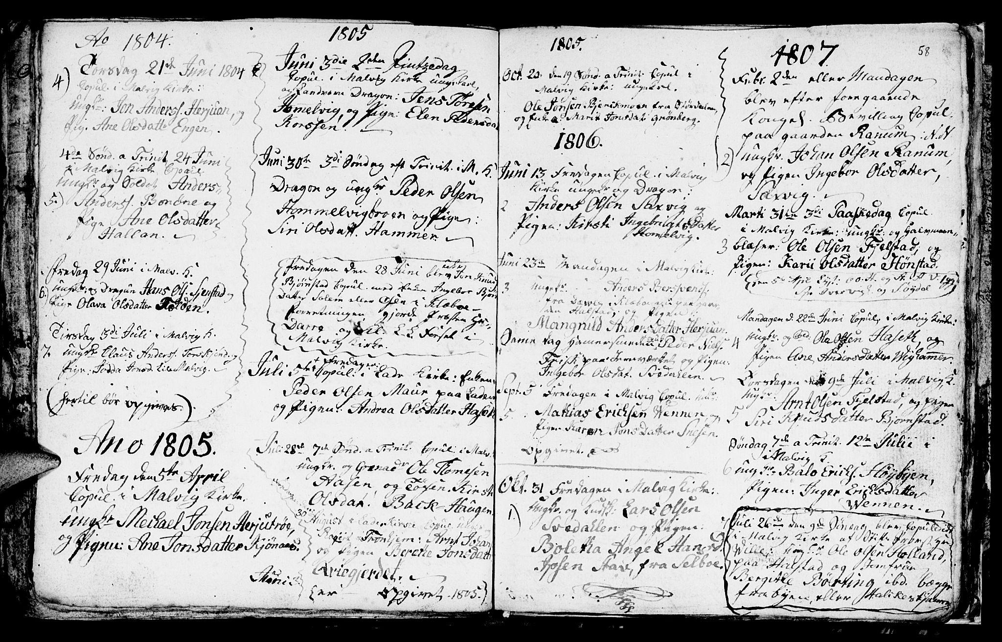 SAT, Ministerialprotokoller, klokkerbøker og fødselsregistre - Sør-Trøndelag, 616/L0419: Klokkerbok nr. 616C02, 1797-1816, s. 58