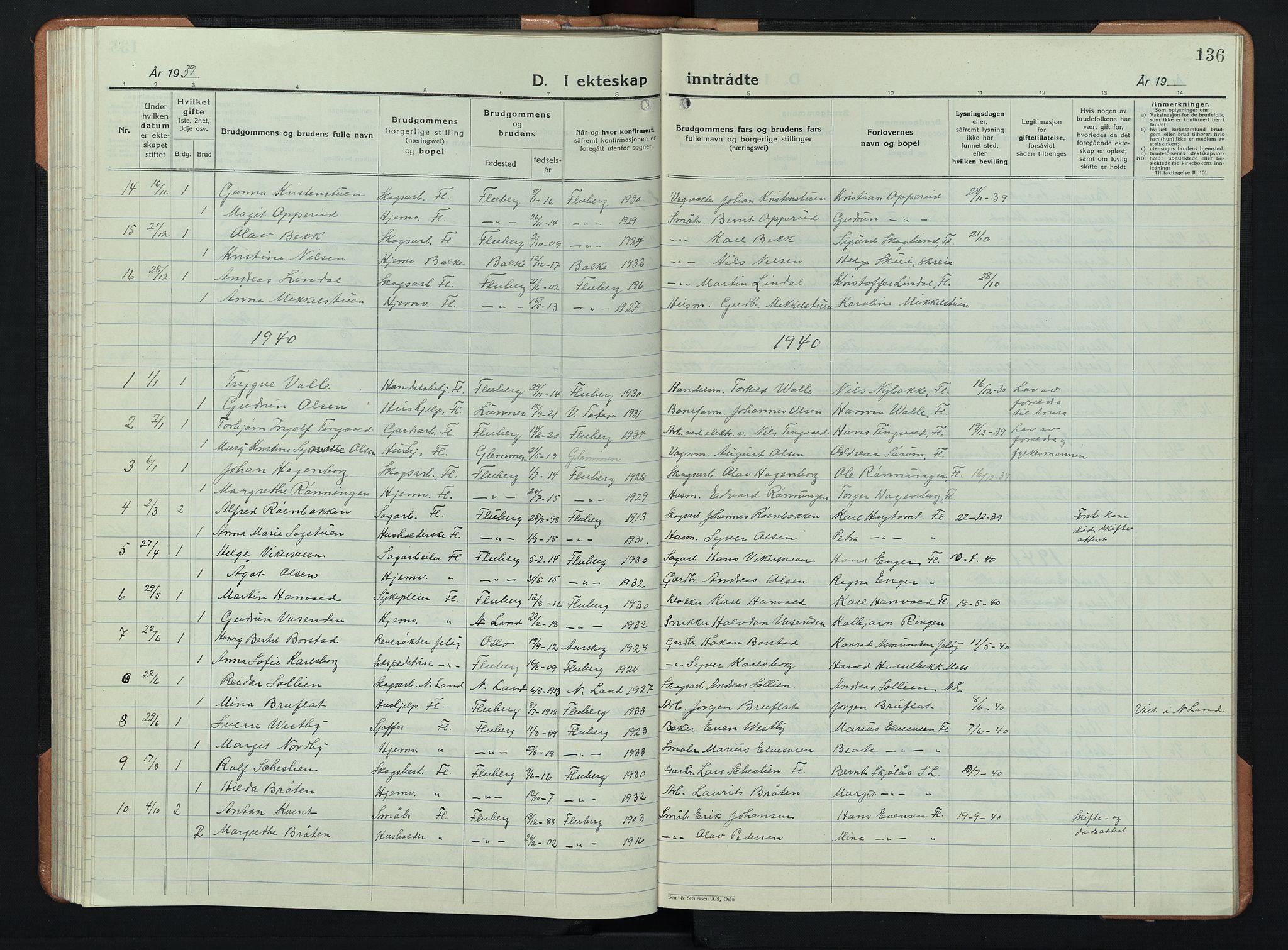 SAH, Søndre Land prestekontor, L/L0008: Klokkerbok nr. 8, 1926-1950, s. 136