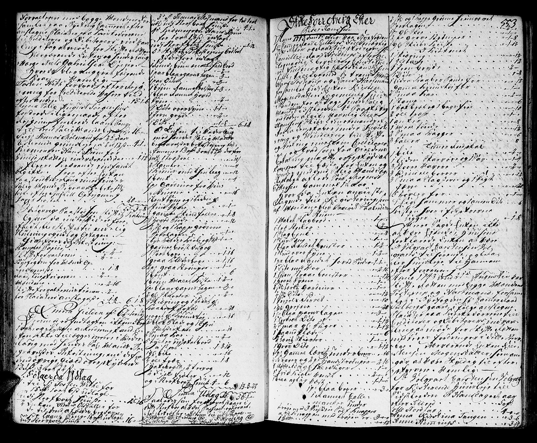 SAT, Trondheim byfogd, 3/3A/L0015: Skifteprotokoll - gml.nr.13b. (m/ register), 1739-1747, s. 552b-553a