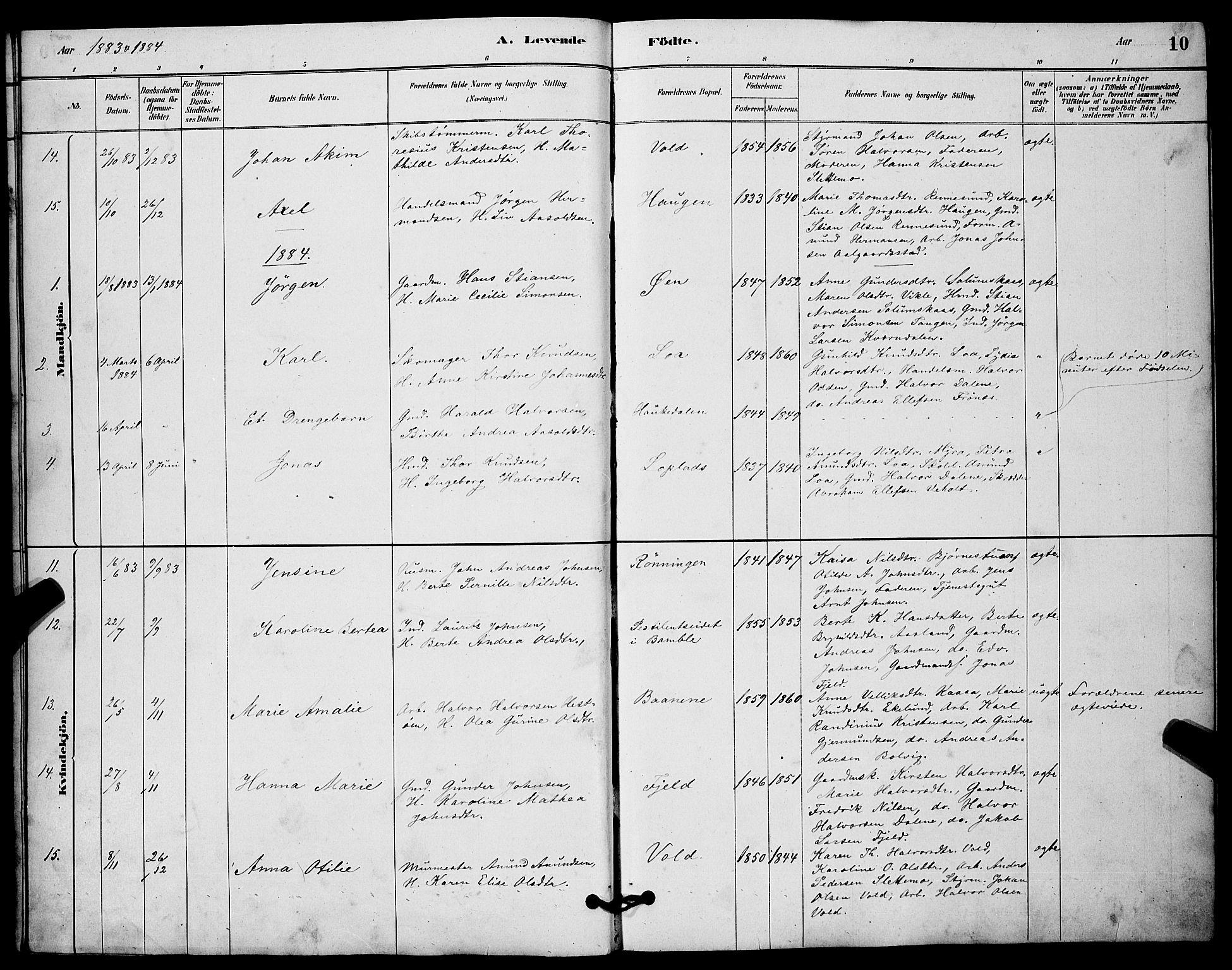 SAKO, Solum kirkebøker, G/Gc/L0001: Klokkerbok nr. III 1, 1880-1902, s. 10