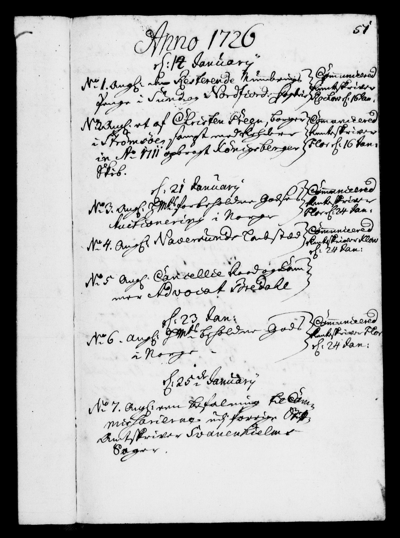 RA, Rentekammeret, Kammerkanselliet, G/Gf/Gfb/L0002: Register til norske relasjons- og resolusjonsprotokoller (merket RK 52.97), 1724-1728, s. 51