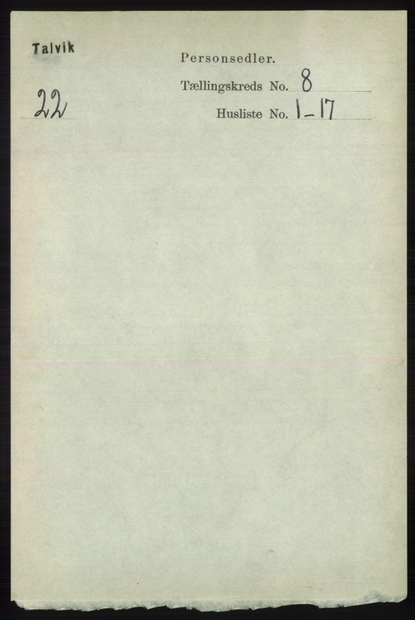 RA, Folketelling 1891 for 2013 Talvik herred, 1891, s. 2054
