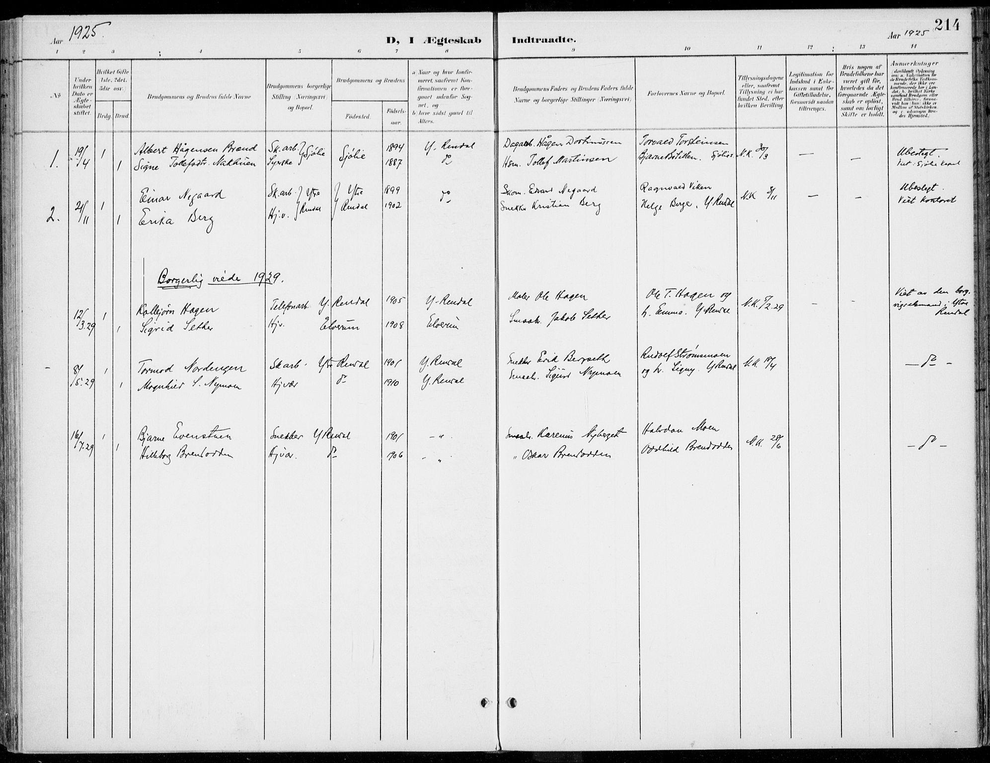 SAH, Rendalen prestekontor, H/Ha/Haa/L0011: Ministerialbok nr. 11, 1901-1925, s. 214