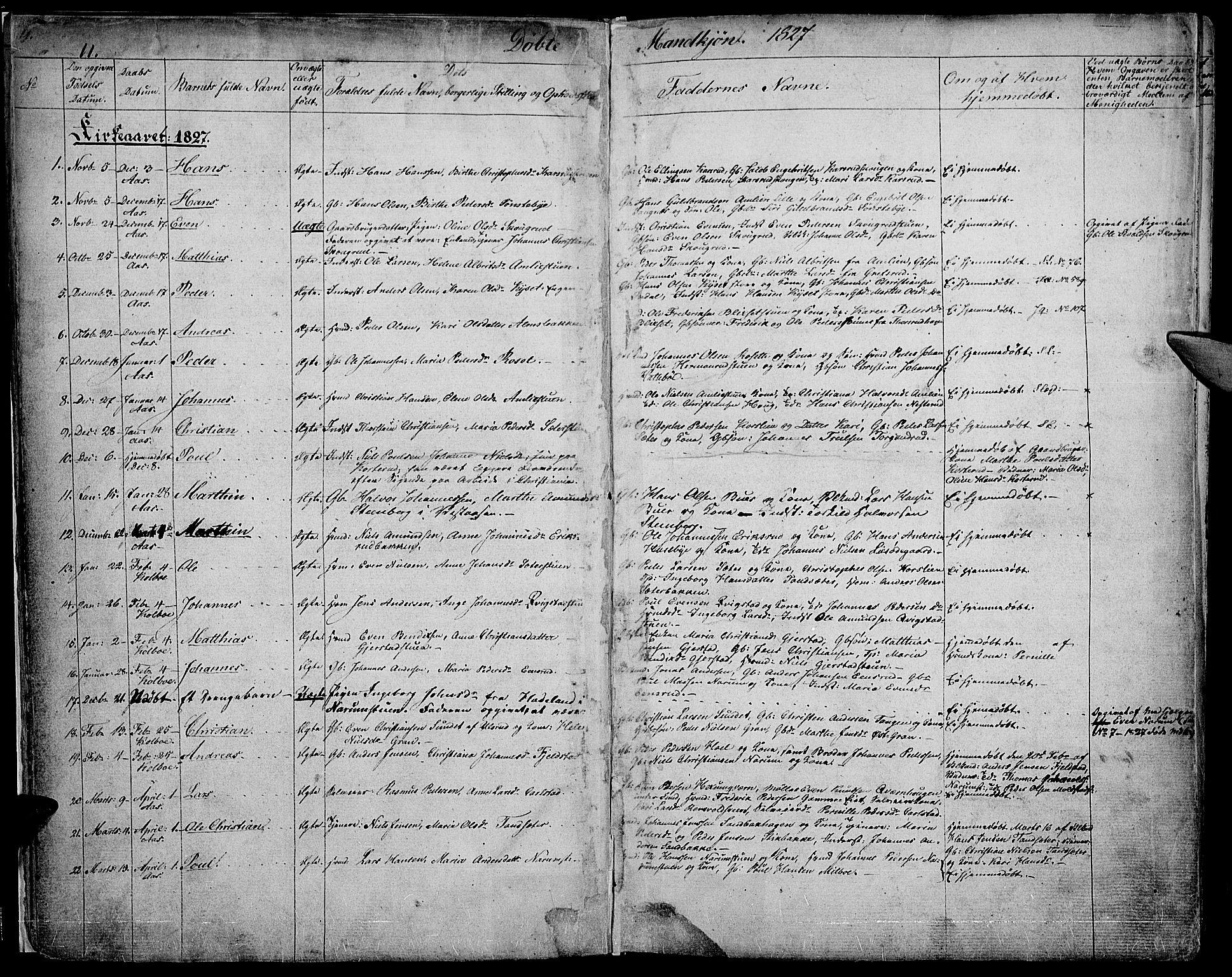 SAH, Vestre Toten prestekontor, H/Ha/Haa/L0002: Ministerialbok nr. 2, 1825-1837, s. 11