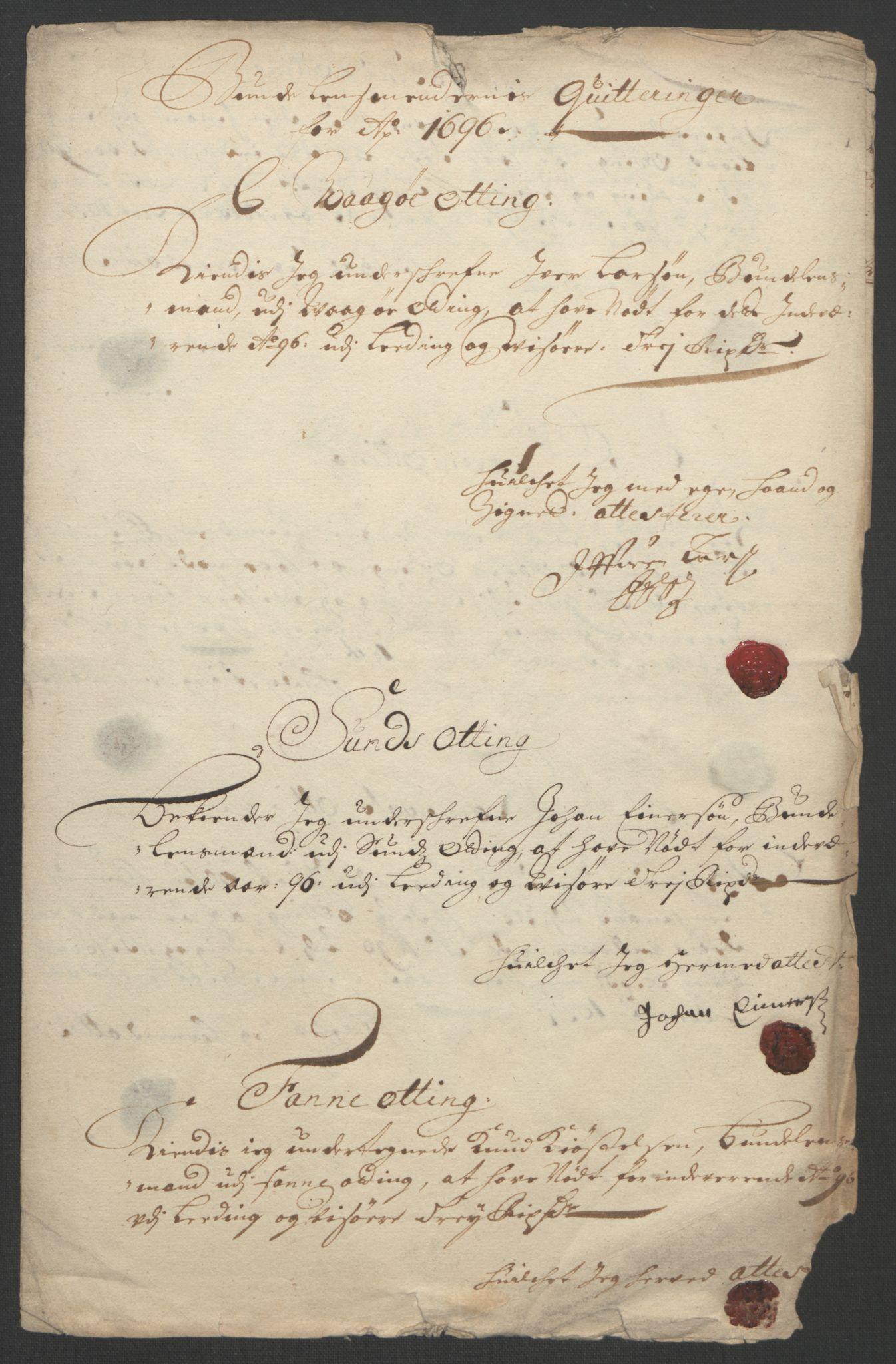 RA, Rentekammeret inntil 1814, Reviderte regnskaper, Fogderegnskap, R55/L3652: Fogderegnskap Romsdal, 1695-1696, s. 287