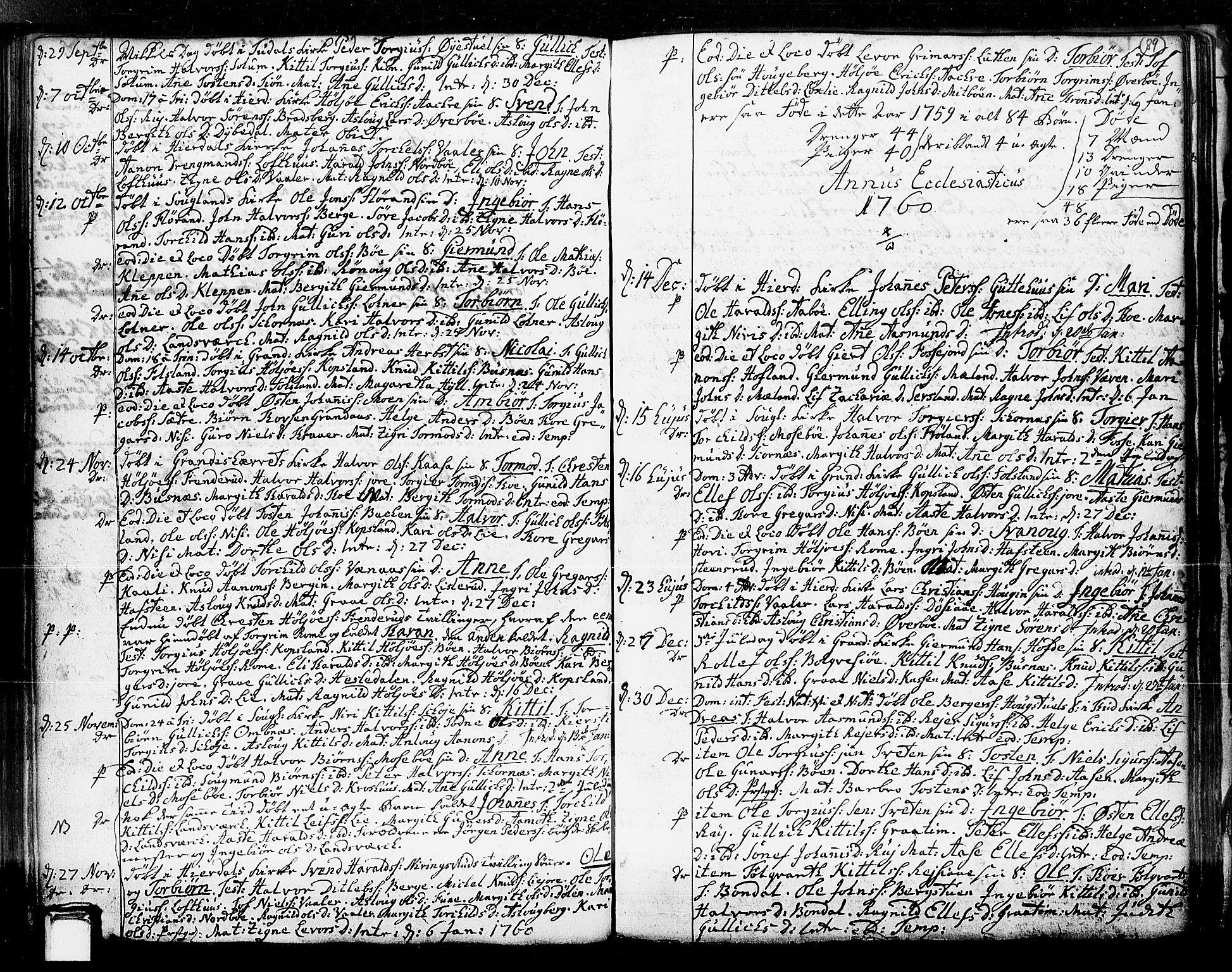 SAKO, Hjartdal kirkebøker, F/Fa/L0003: Ministerialbok nr. I 3, 1727-1775, s. 89