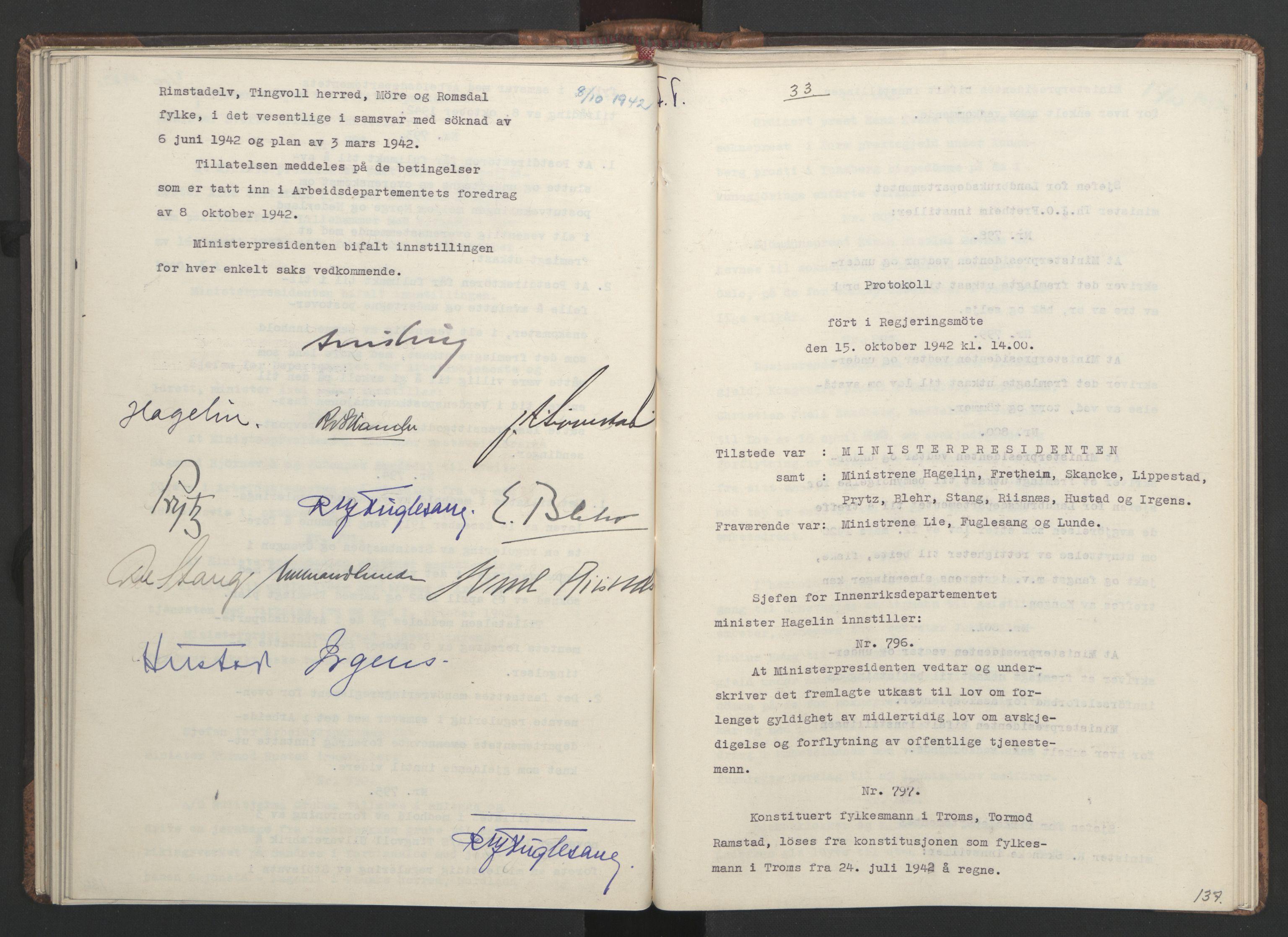 RA, NS-administrasjonen 1940-1945 (Statsrådsekretariatet, de kommisariske statsråder mm), D/Da/L0001: Beslutninger og tillegg (1-952 og 1-32), 1942, s. 136b-137a