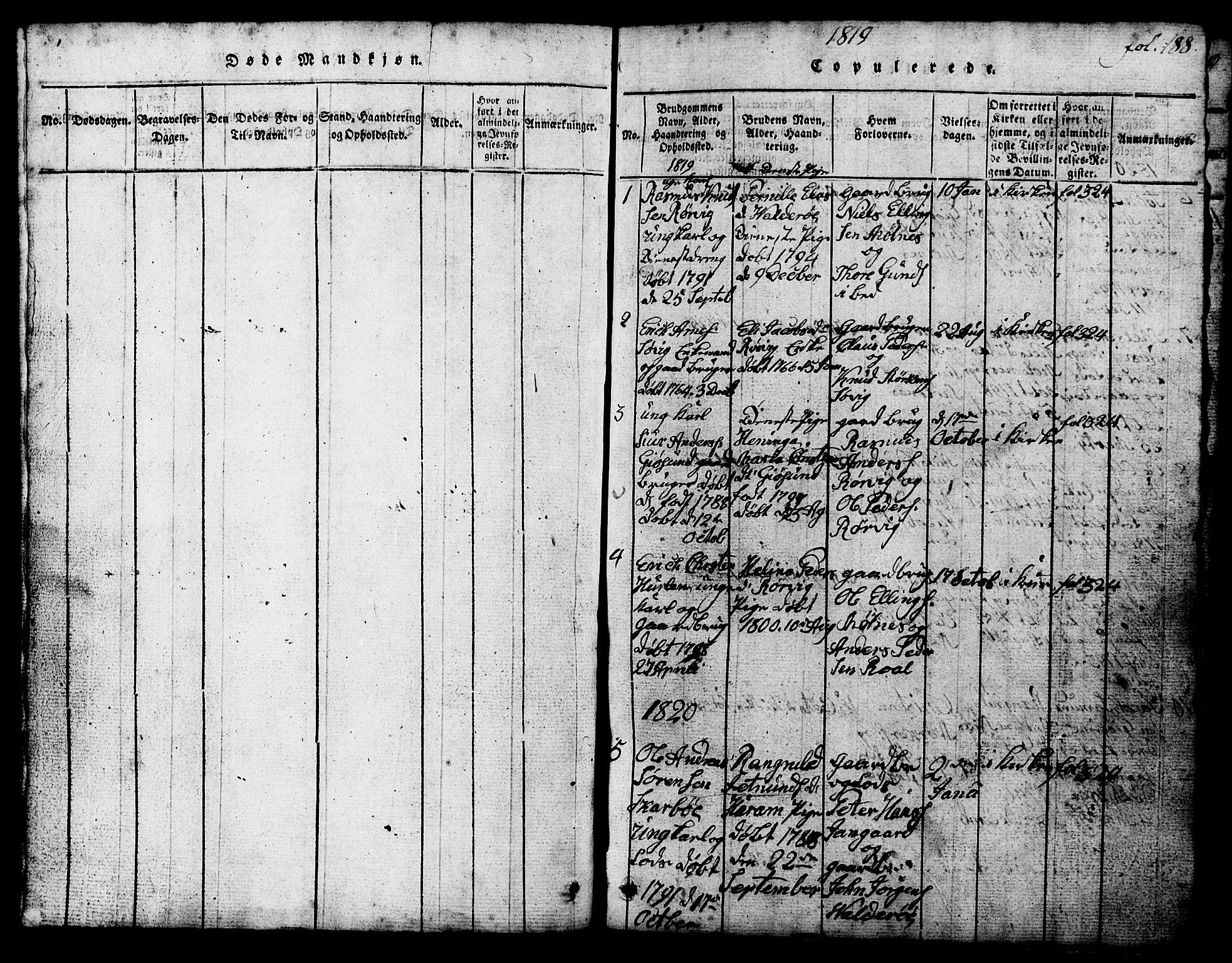 SAT, Ministerialprotokoller, klokkerbøker og fødselsregistre - Møre og Romsdal, 537/L0520: Klokkerbok nr. 537C01, 1819-1868, s. 188