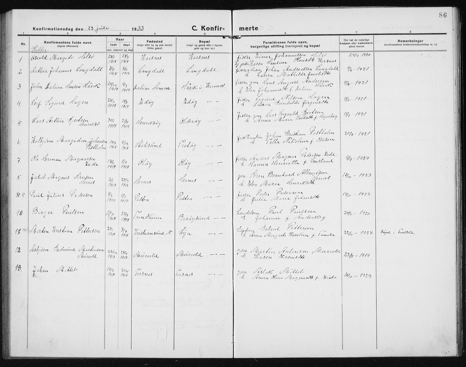 SAT, Ministerialprotokoller, klokkerbøker og fødselsregistre - Sør-Trøndelag, 635/L0554: Klokkerbok nr. 635C02, 1919-1942, s. 86