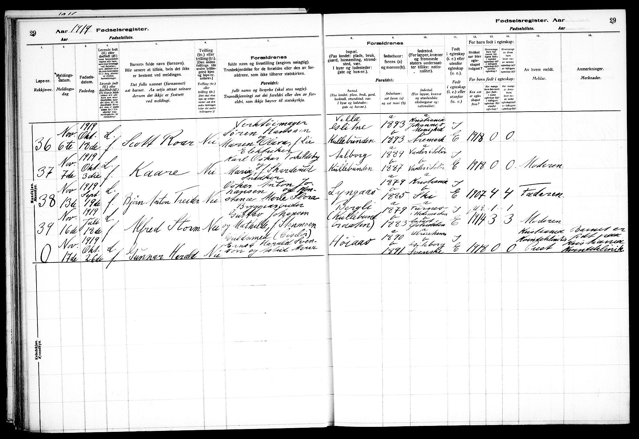 SAO, Nesodden prestekontor Kirkebøker, J/Jb/L0001: Fødselsregister nr. II 1, 1916-1933, s. 29