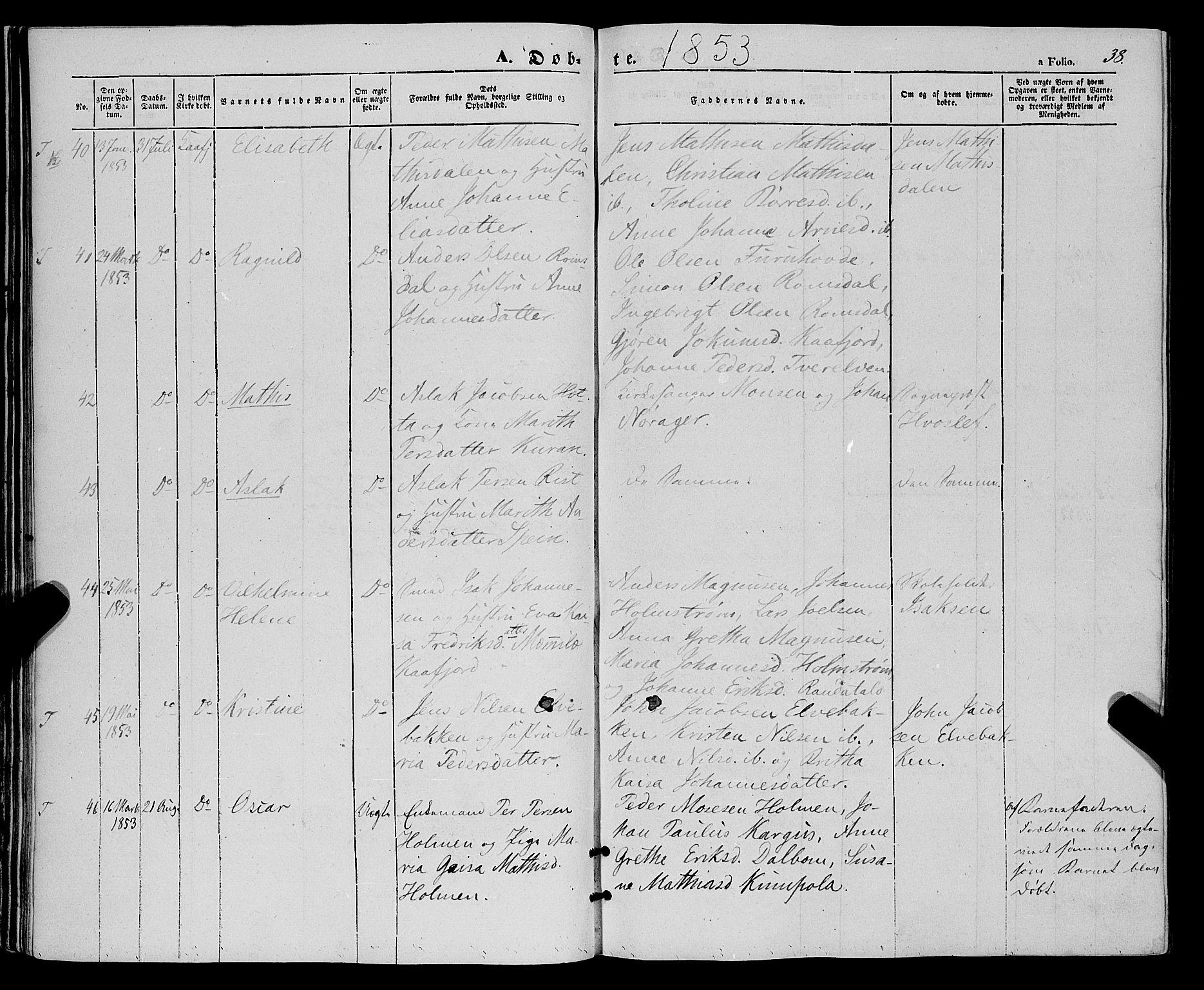 SATØ, Talvik sokneprestkontor, H/Ha/L0016kirke: Ministerialbok nr. 16, 1847-1857, s. 38